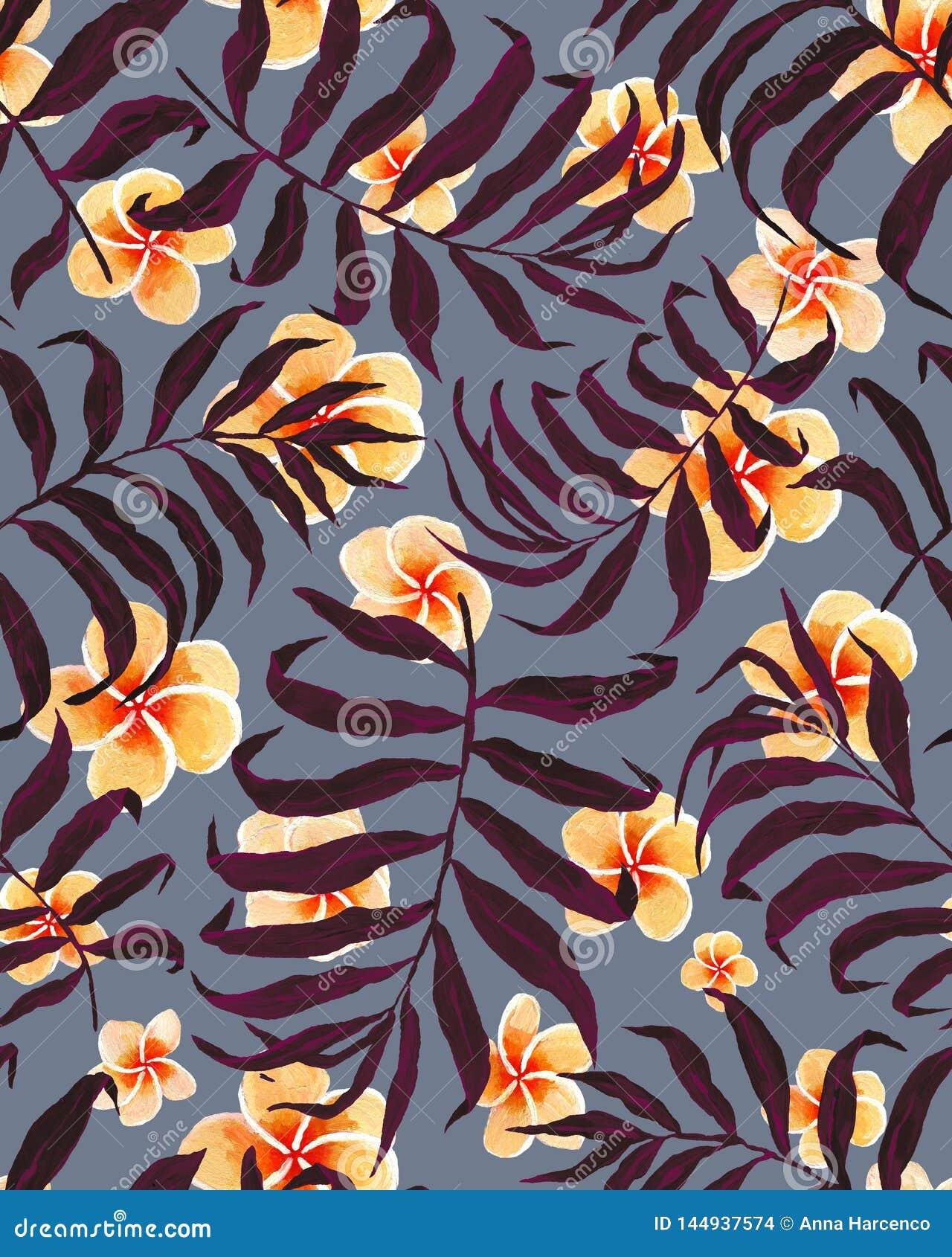 Fleurs tropicales de modèle et de plumeria de palmettes