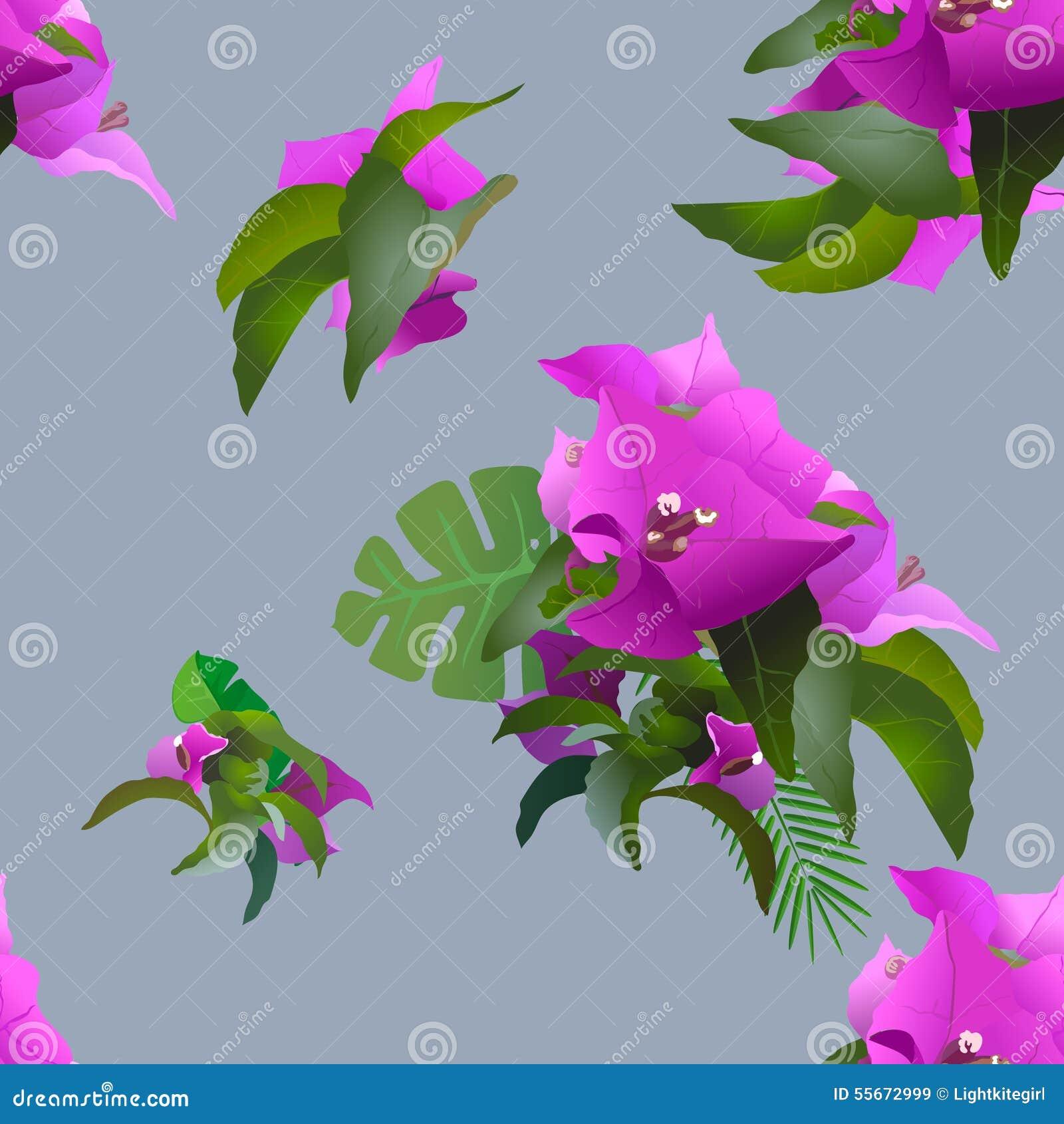 Fleurs tropicales et plantes exotiques sans couture illustration de vecteur image 55672999 for Fleurs et plantes