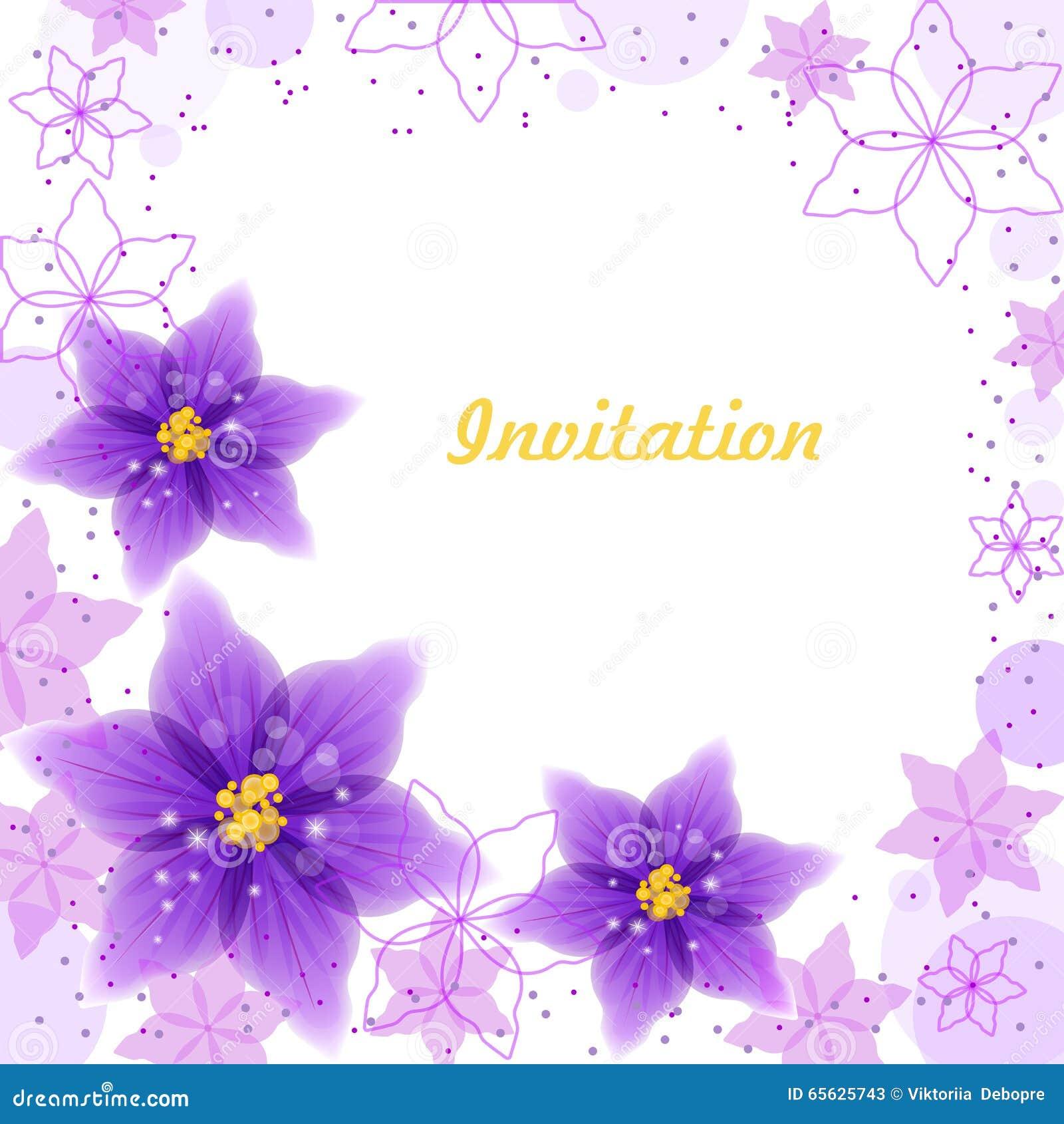 Fleurs violettes de witn de carte d invitation et ornement floral
