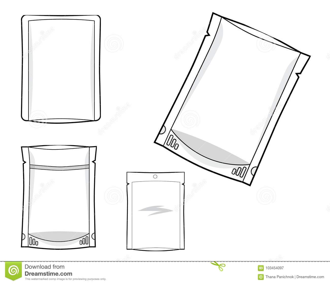 Flexible Packaging Bag 3 Side Seal And Standing Pouch Stock Vector Stading Pouce