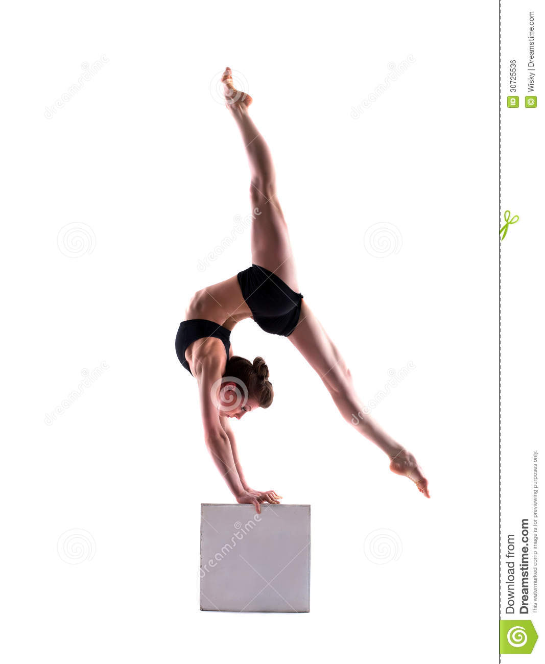 e34a929db44a Flexible Sporty Girl Posing On Cube Stock Photo - Image of beautiful ...