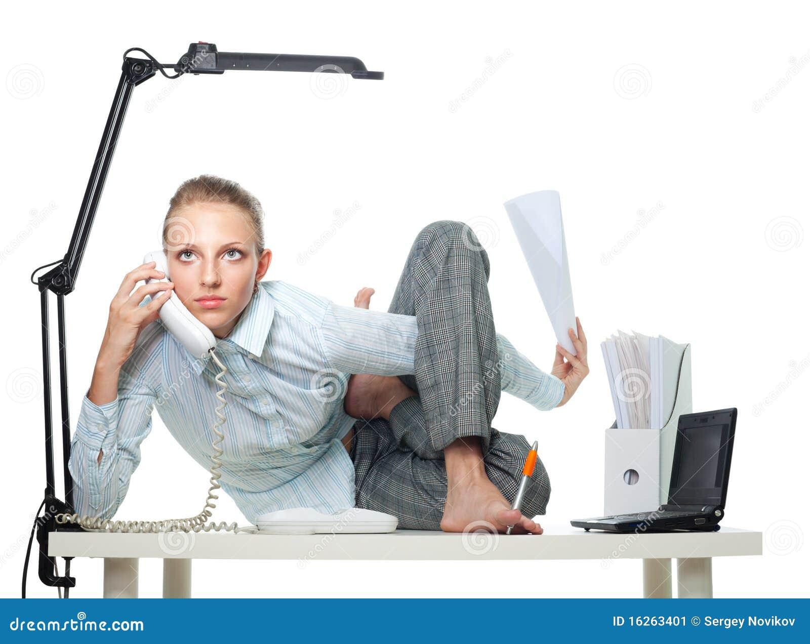 Flexible woman in office