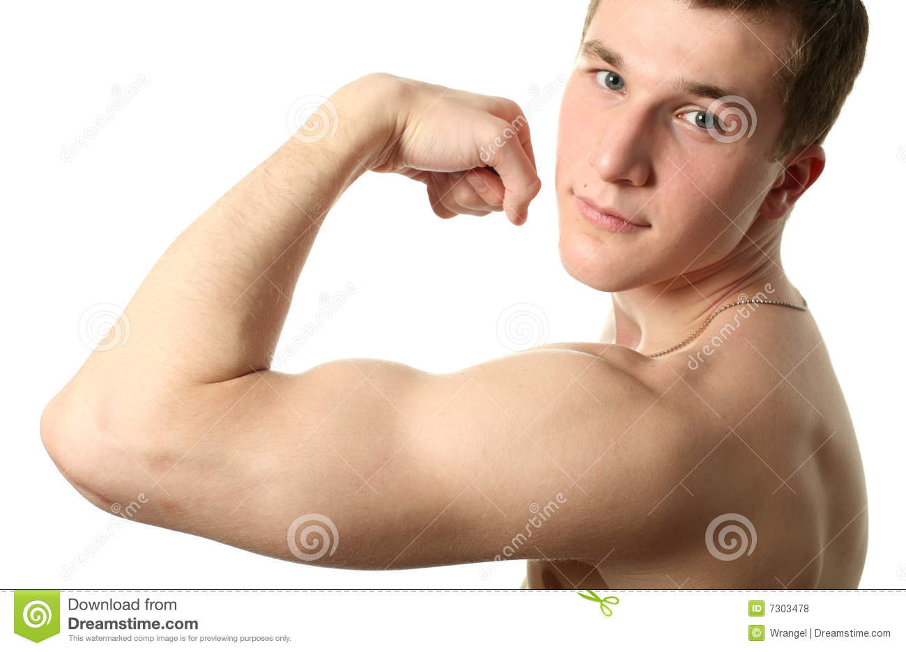 Men flexing biceps