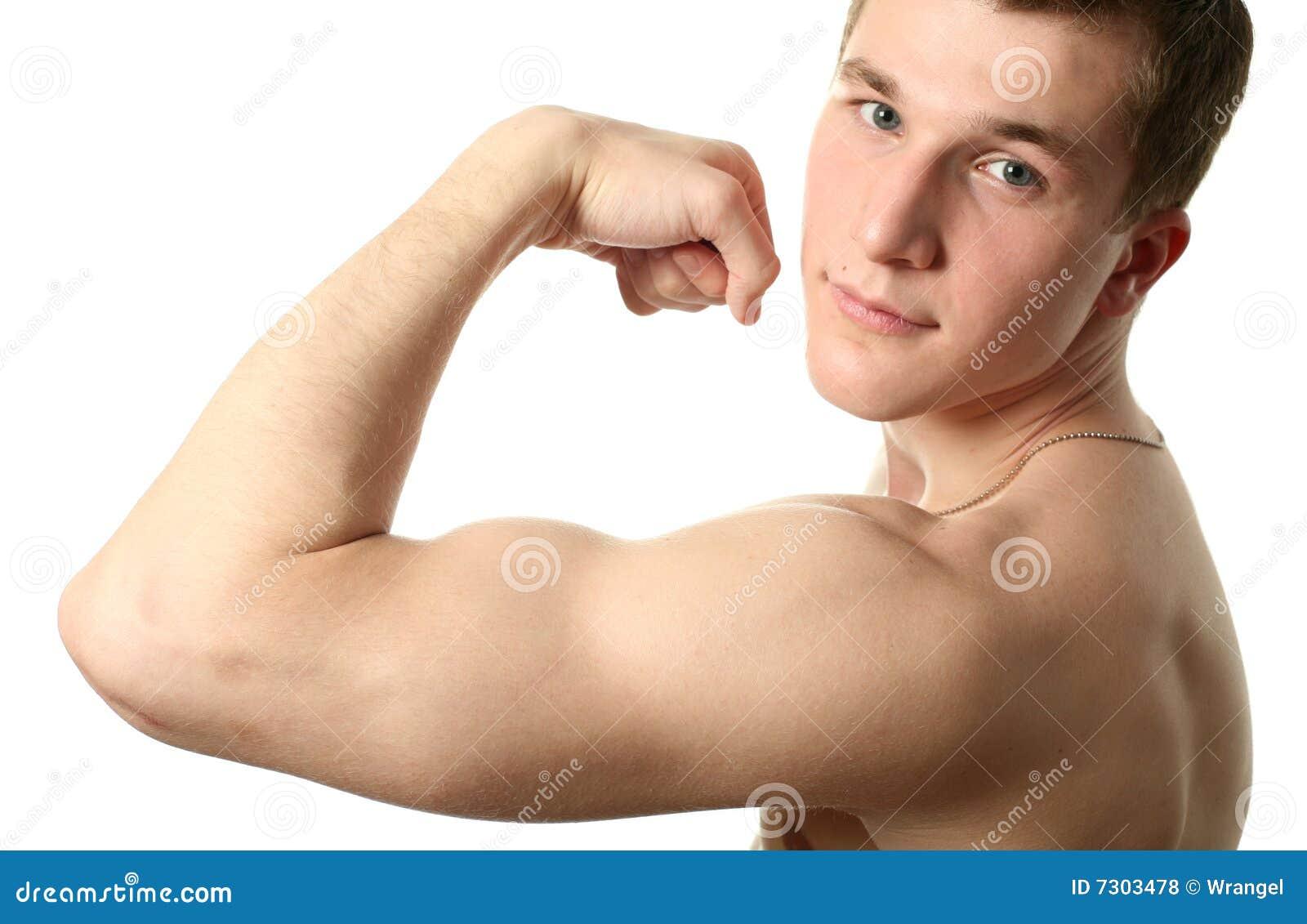 Men flexing biceps