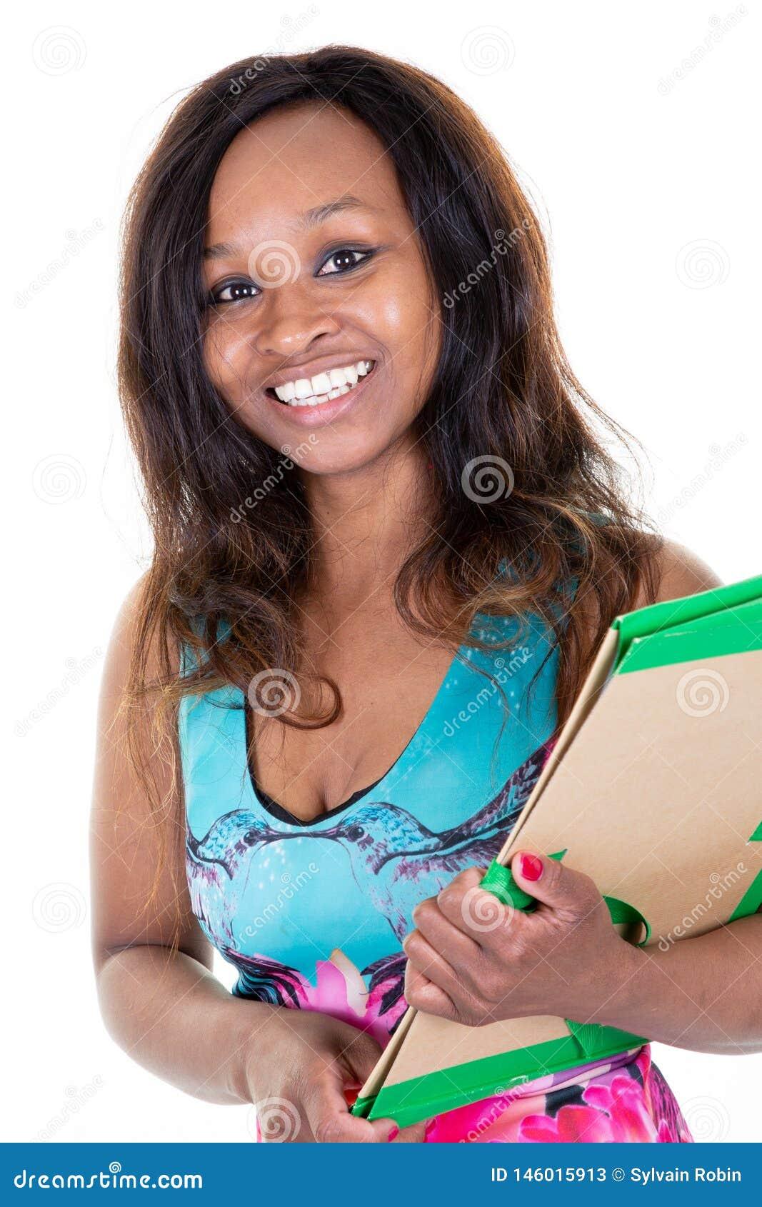 Flicka för högskola för ung kvinna för afrikansk amerikanstudent