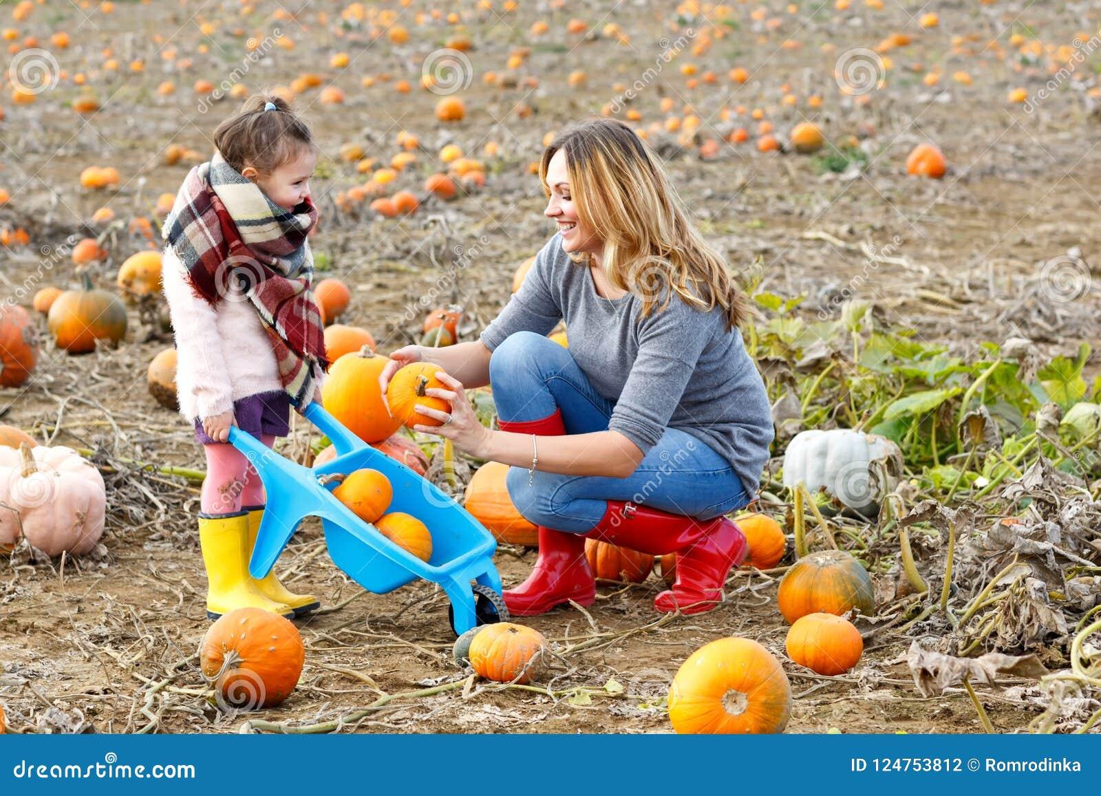 Flicka för liten unge och härlig moder som har gyckel med lantbruk på en pumpalapp Traditionell familjfestival med