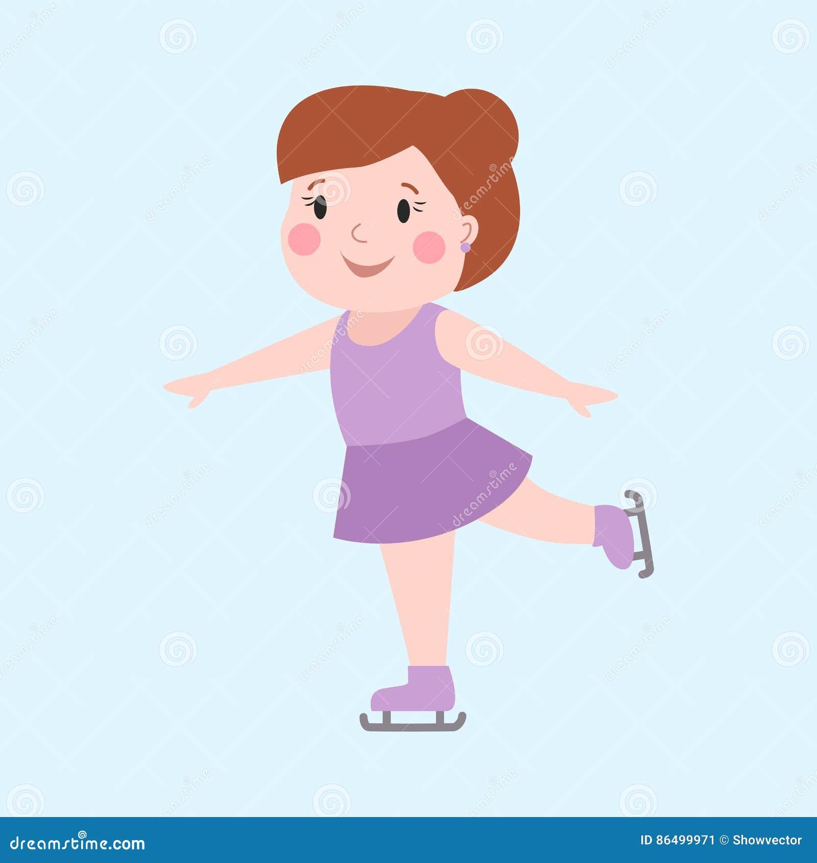 Flicka för vintersport som utomhus åker skridskor för lycklig den nätta gladlynta lilla ungen isövning för aktivitet i modeklänni