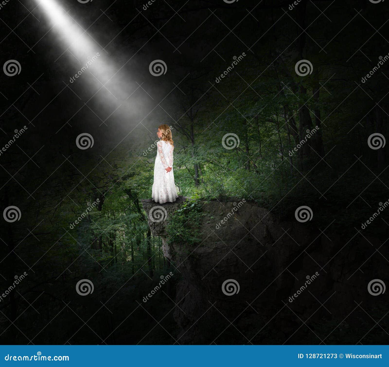 Flicka fred, hopp, natur, skog