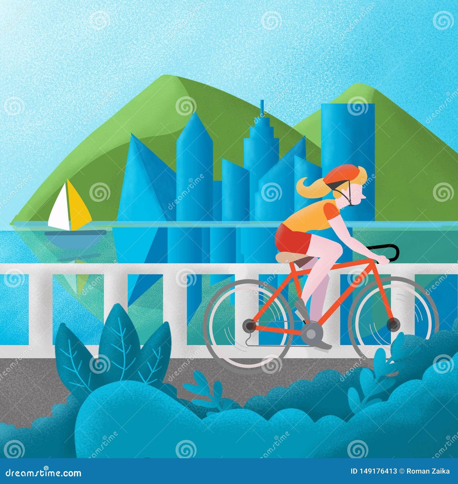 Flicka i en röd T-tröja och en röd hjälmresor över bron på en cykel