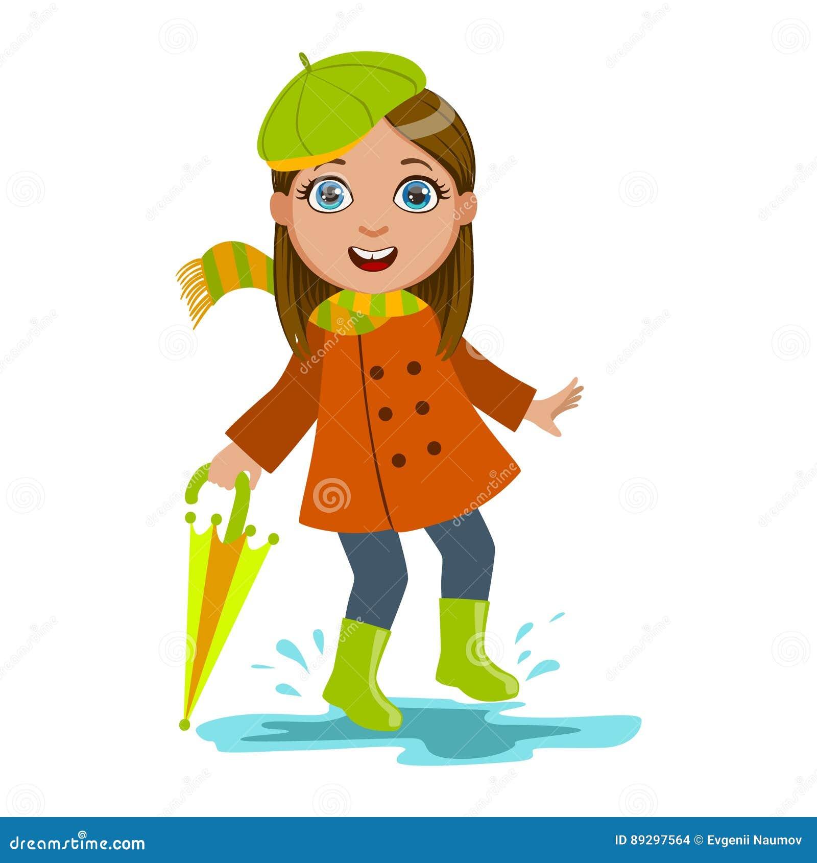Flicka i grön basker med paraplyet, ungen i Autumn Clothes In Fall Season Enjoyingn regn och regnigt väder, färgstänk och