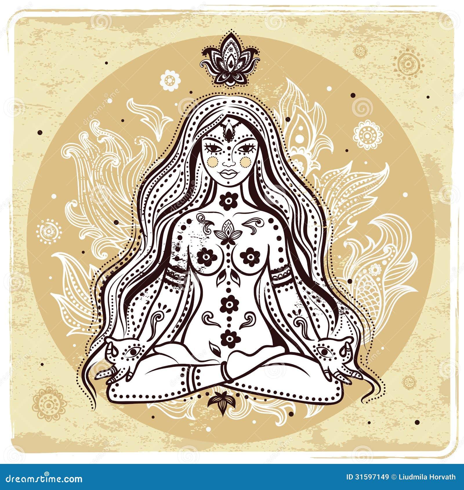 Flicka i meditation