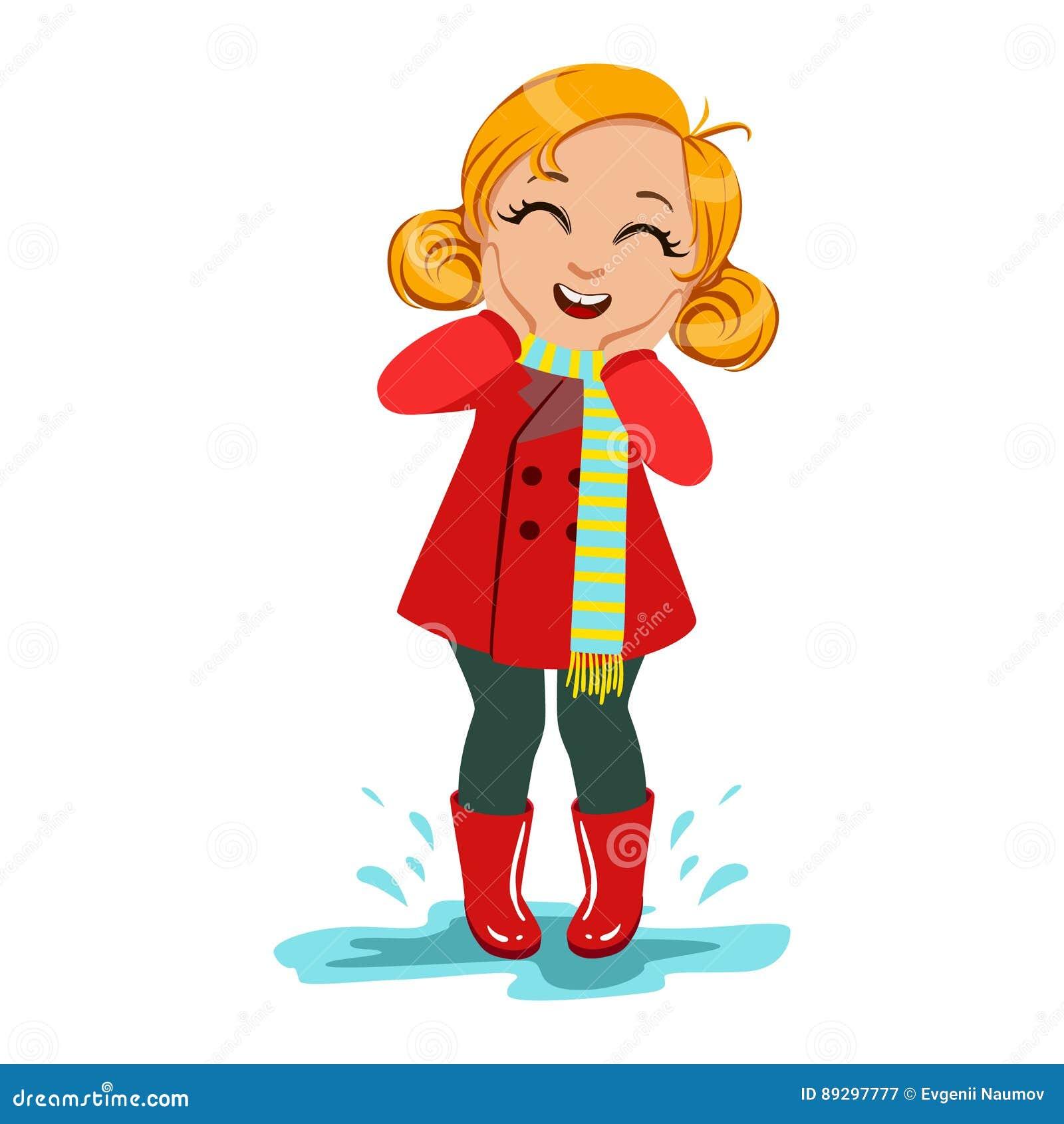 Flicka i rött lag och gummistöveler, unge i Autumn Clothes In Fall Season Enjoyingn regn och regnigt väder, färgstänk och