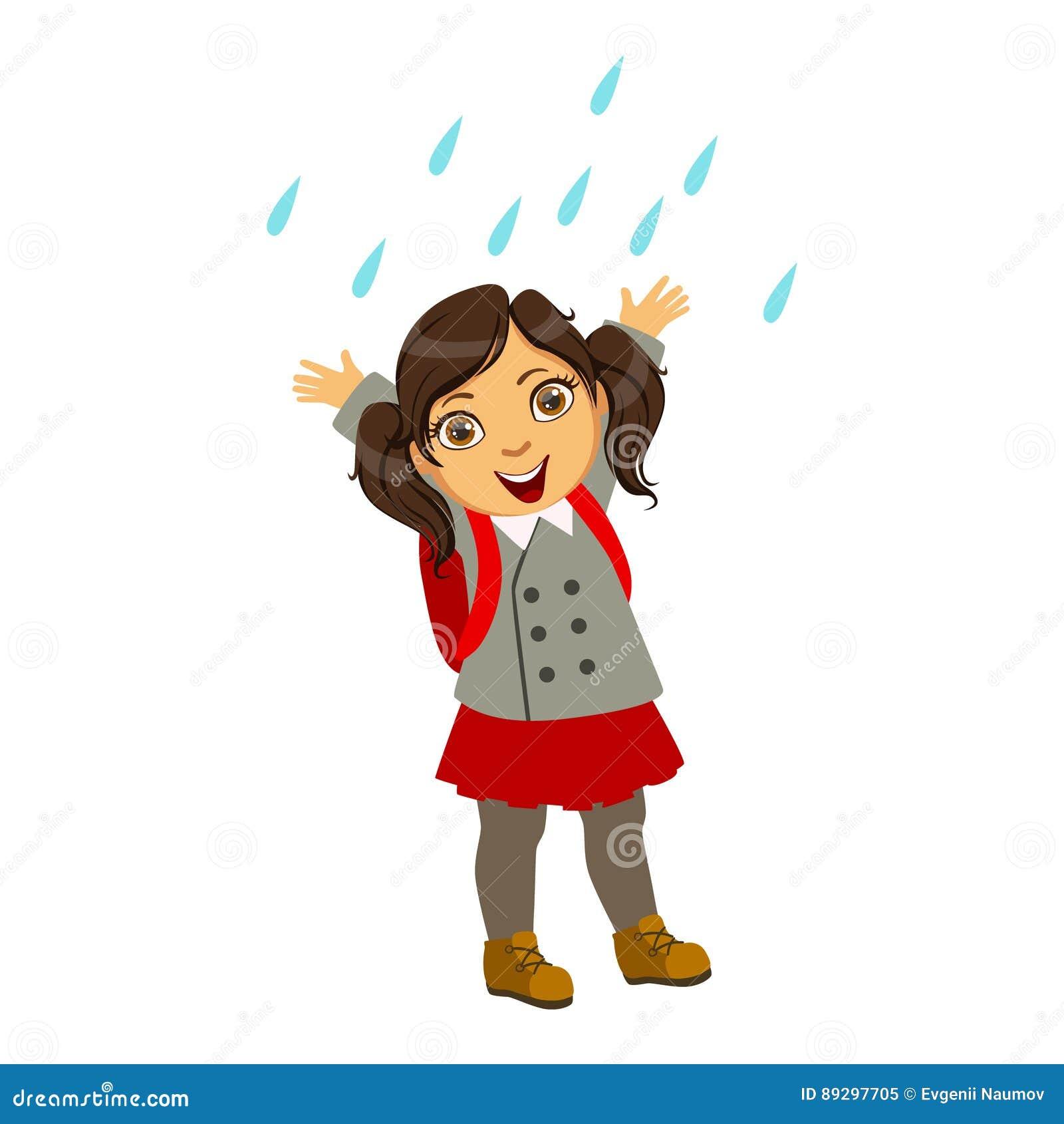 Flicka i skolalikformig, unge i Autumn Clothes In Fall Season Enjoyingn regn och regnigt väder, färgstänk och pölar