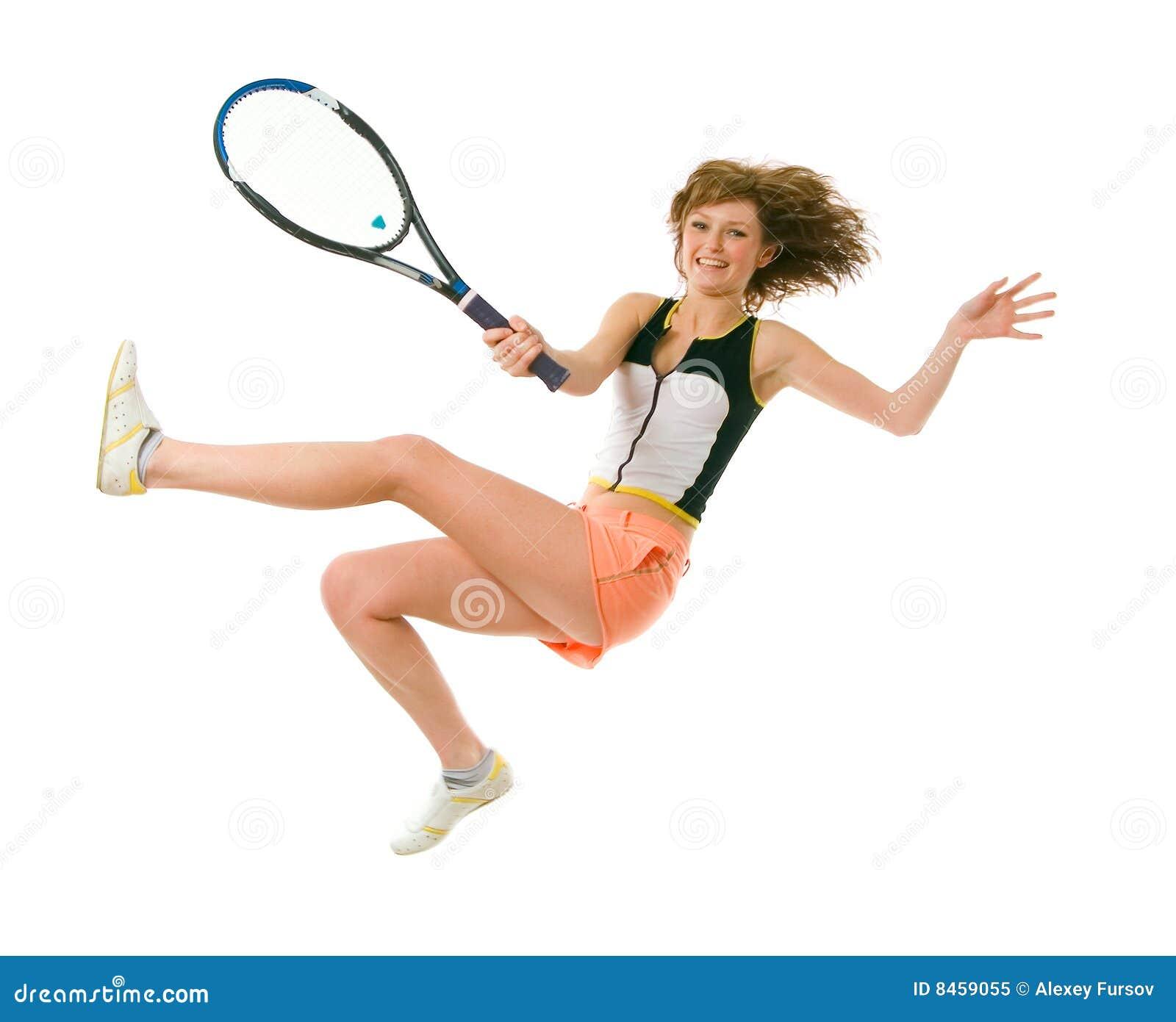 Flicka isolerat leka tenniswhitebarn