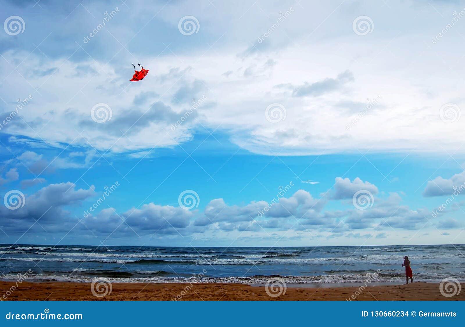 Flicka med draken på stranden