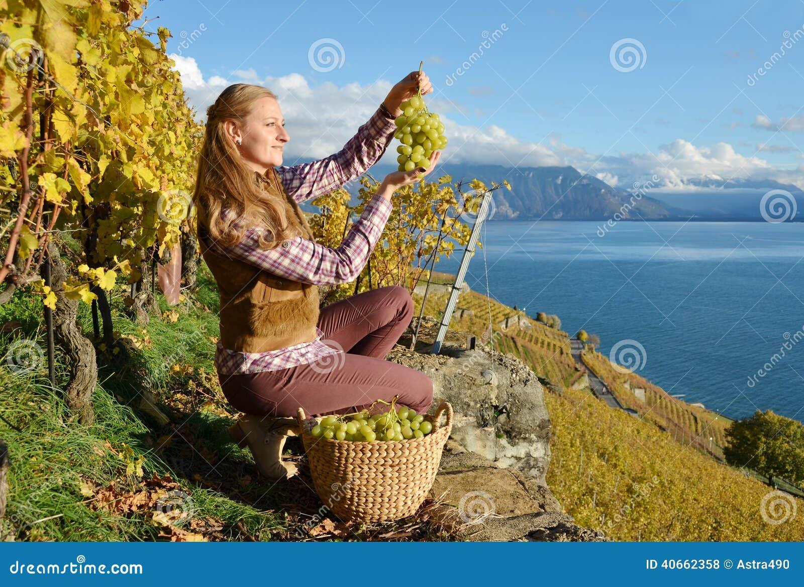 Flicka med en korg som är full av druvor
