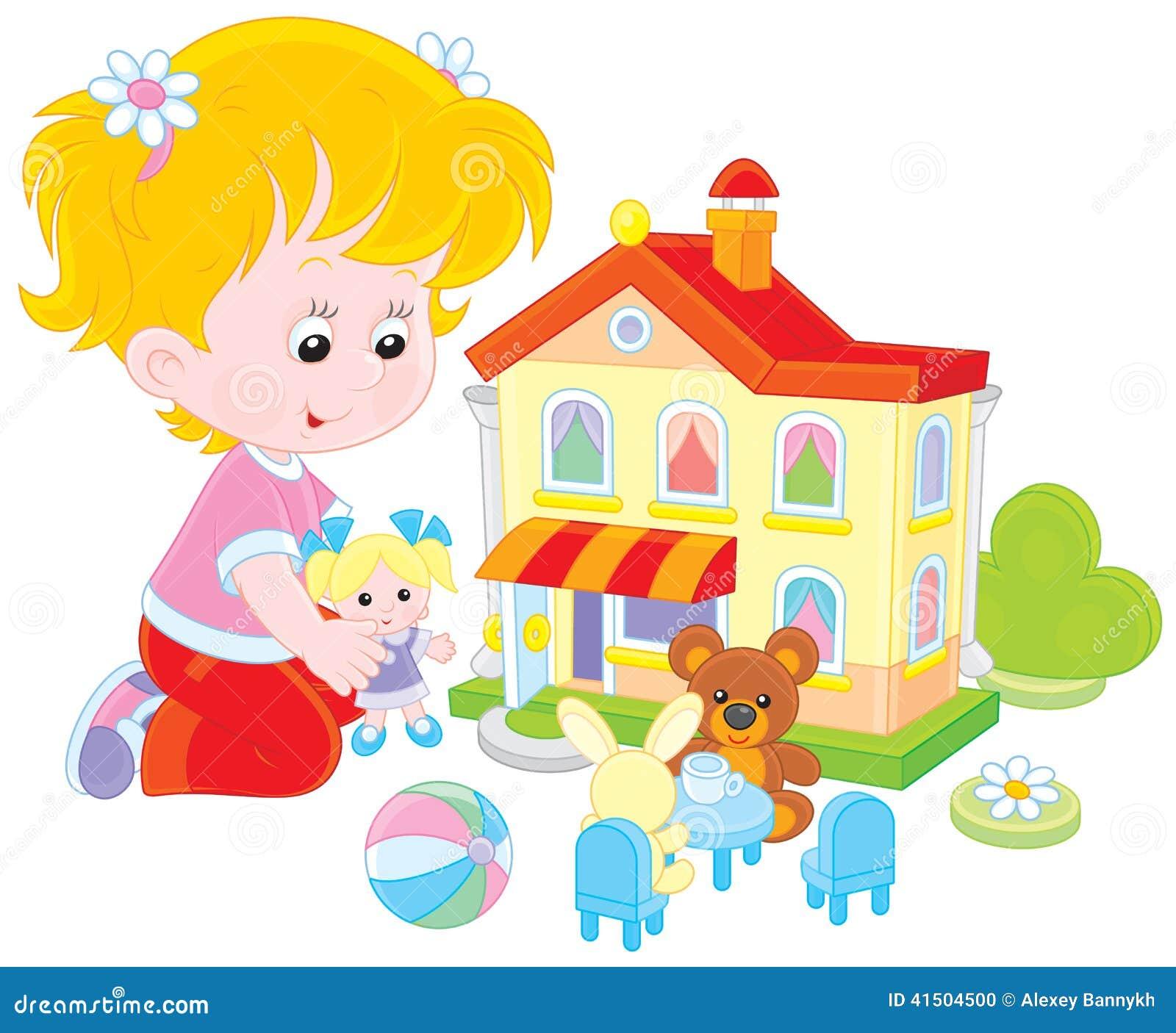 Flicka med ett docka- och leksakhus
