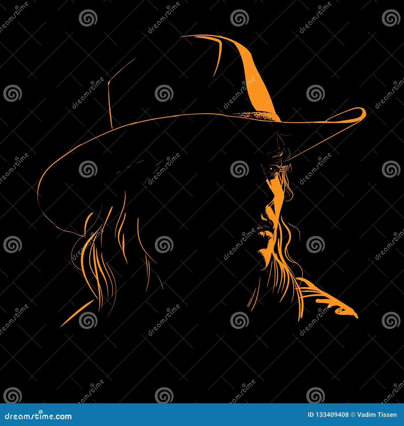 Flicka med panelljuset för kontur för cowboyhatt i motsats vektor illustration