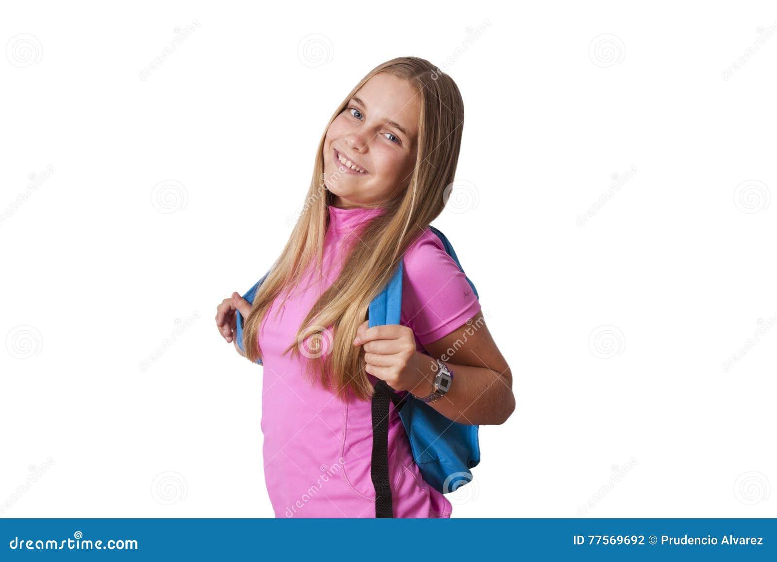 Flicka med ryggsäcken