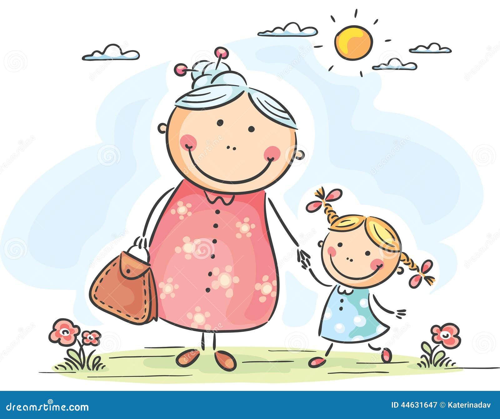 Flicka och hennes farmor på en gå