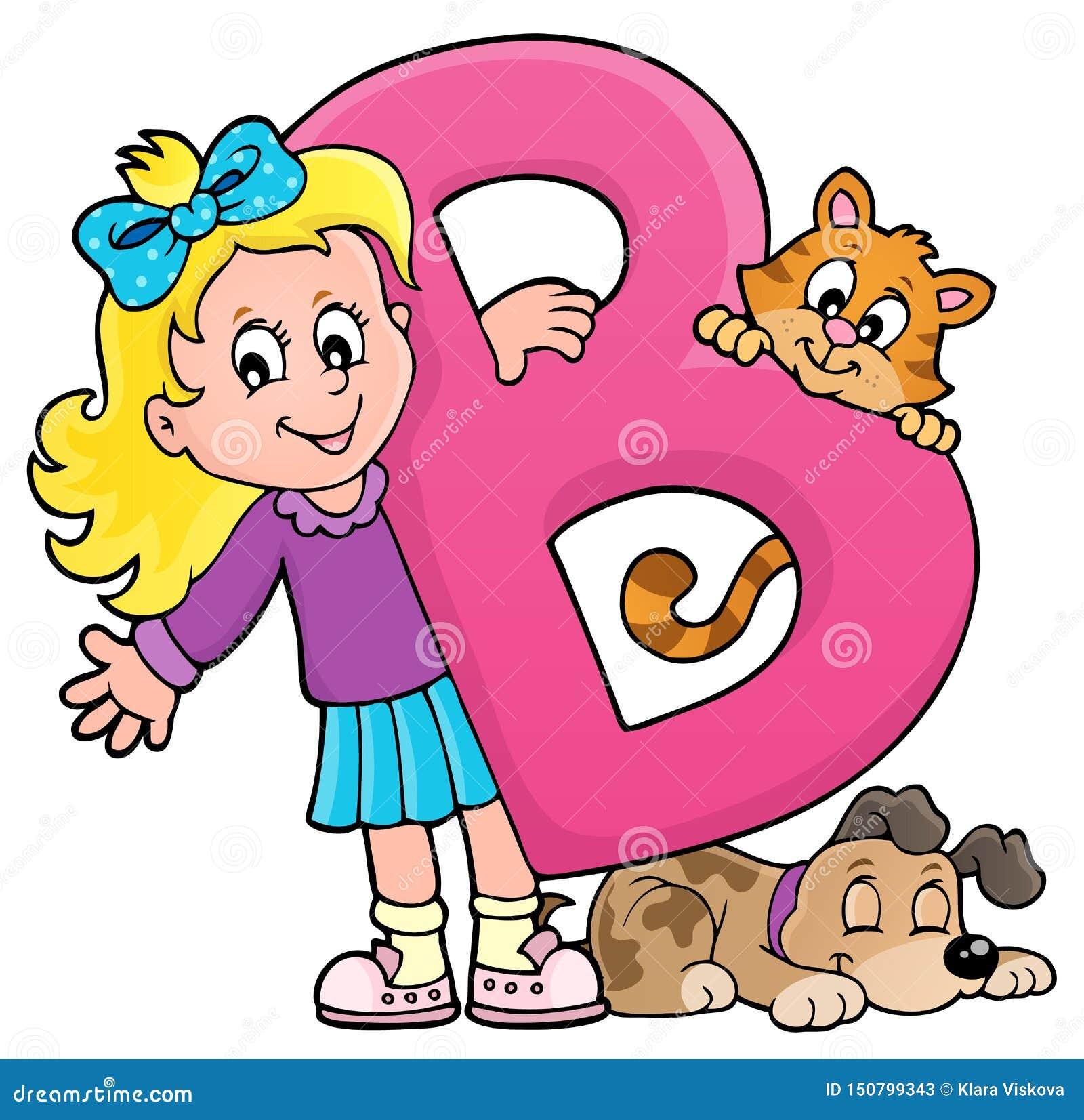 Flicka och husdjur med bokstav B