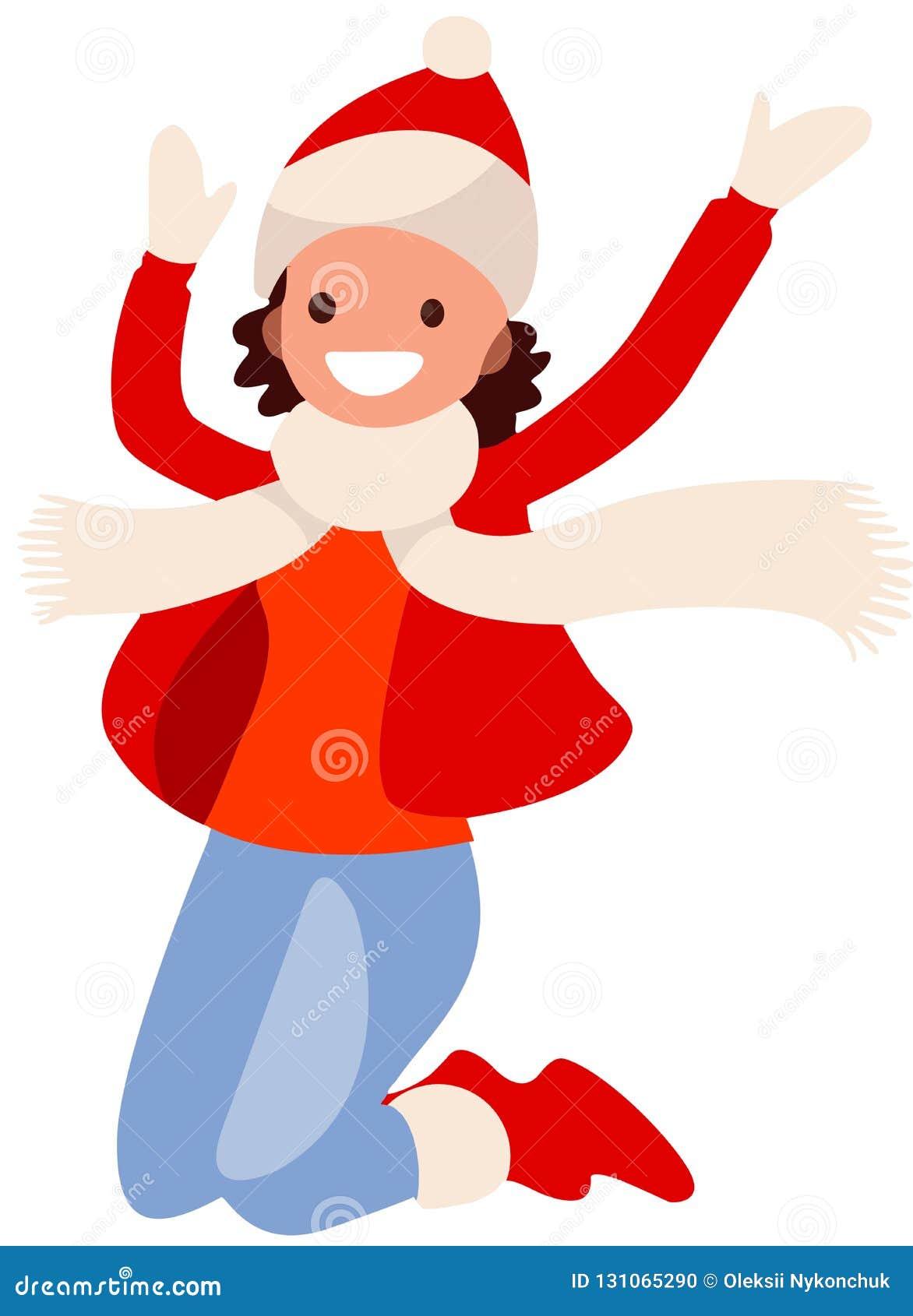 Flicka på vit bakgrund i rött hoppa för kläder