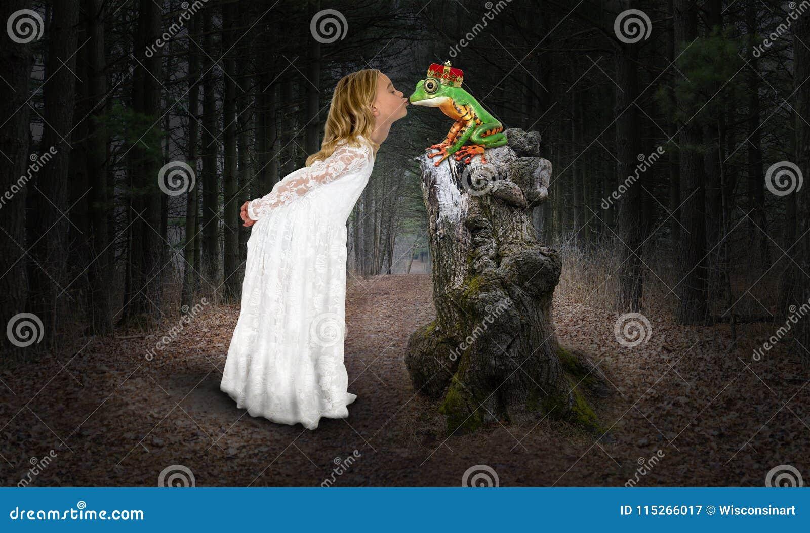 Flicka prinsessa, kyss, kyssande groda, fantasi