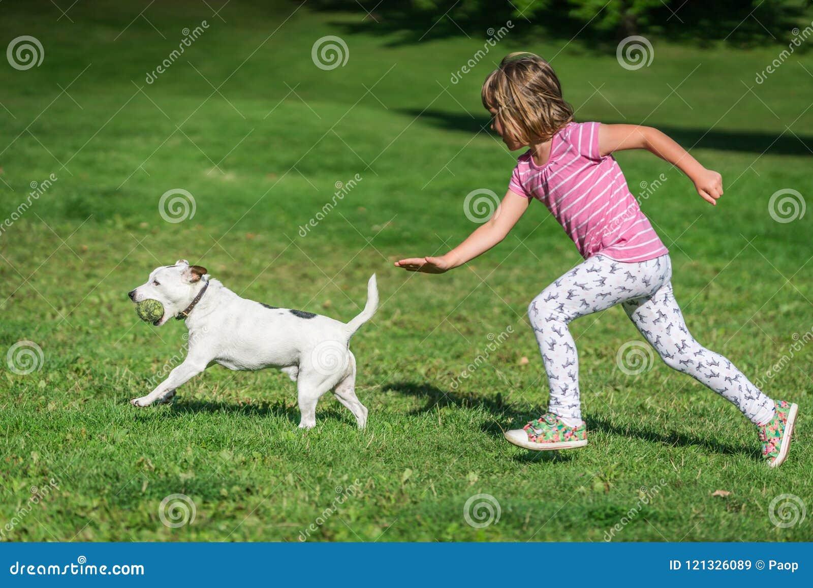 Flicka som jagar en hund i en parkera