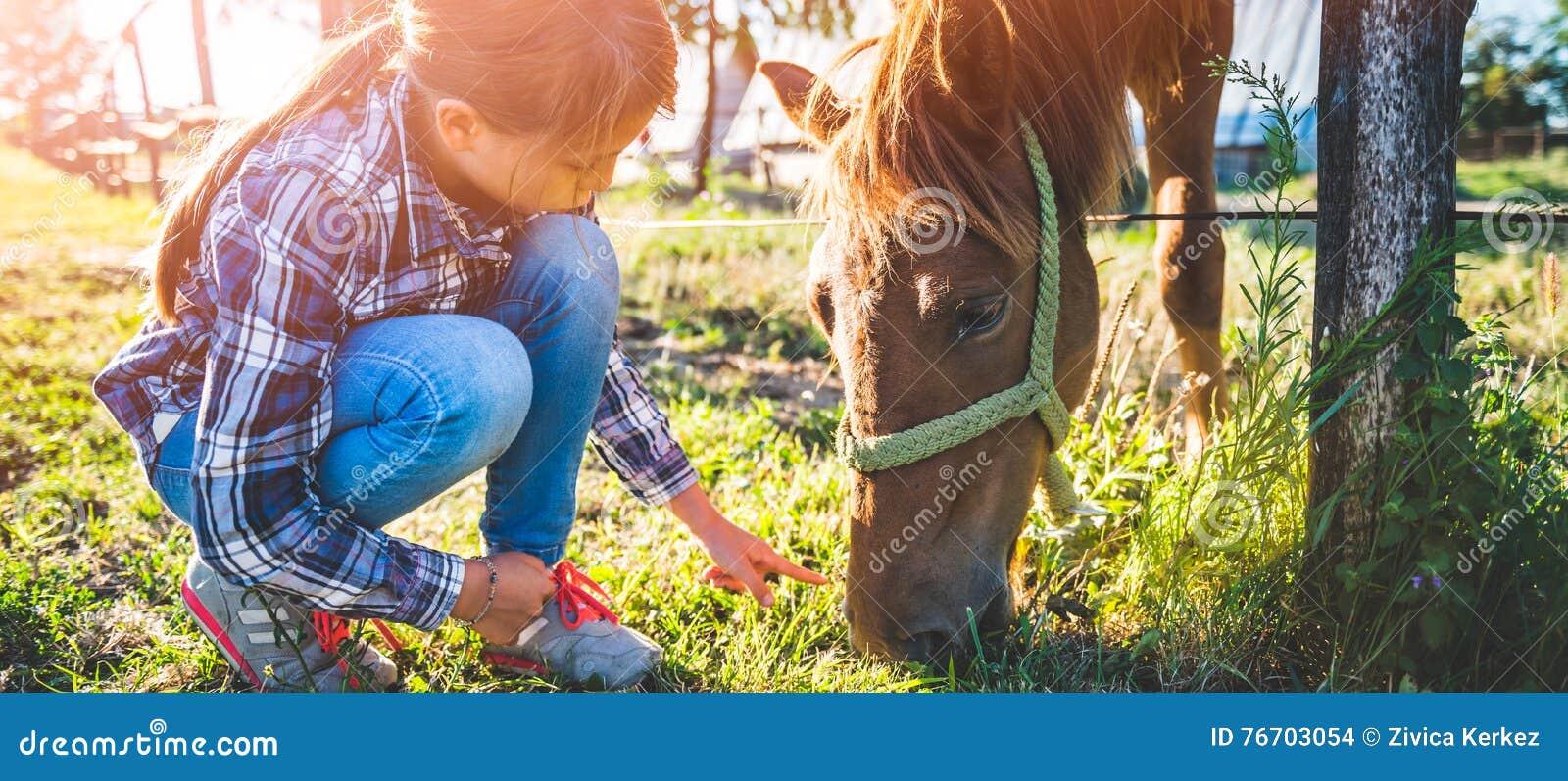 Flicka som matar den bruna hästen