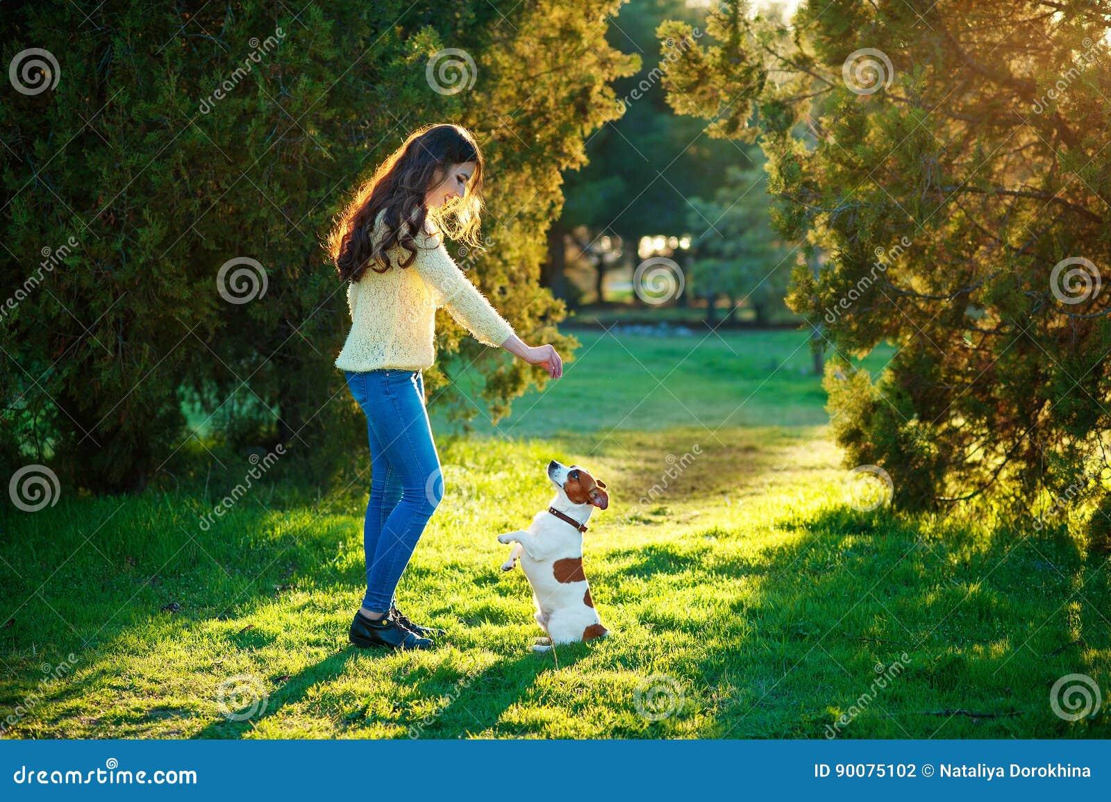 Flicka som spelar med en hund Jack Russell Terrier på naturen