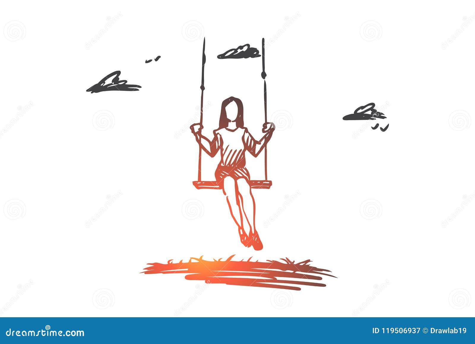 Flicka svänga som spelar, gyckel, aktivitetsbegrepp Hand dragen isolerad vektor
