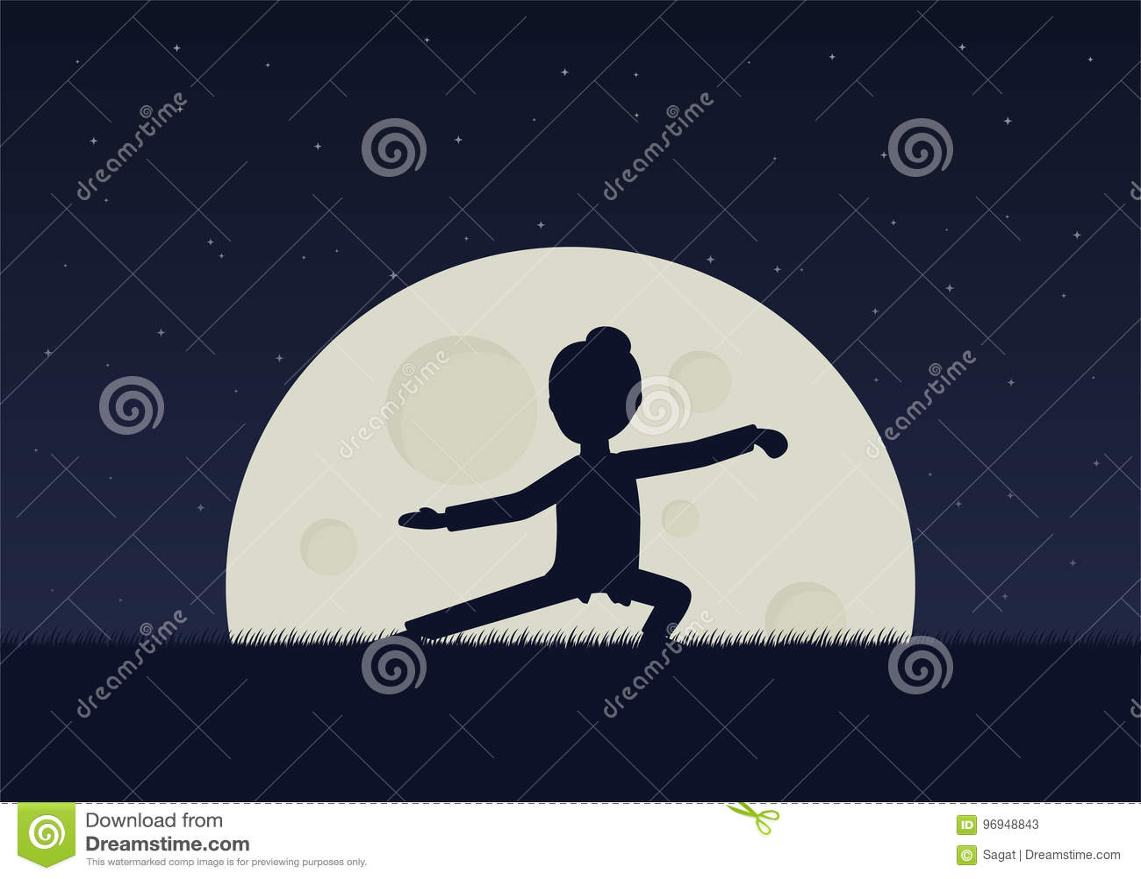 Flicka utförande qigong eller taijiquan övningar i aftonen