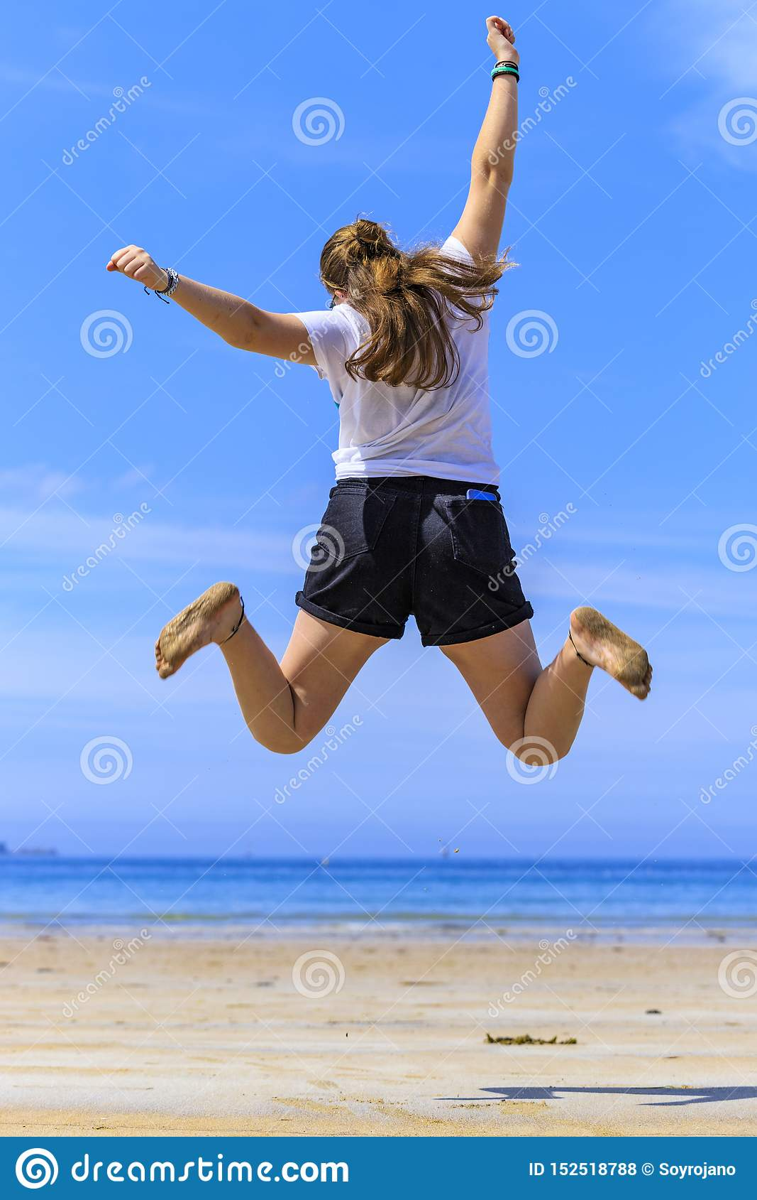Flickabanhoppning p? stranden