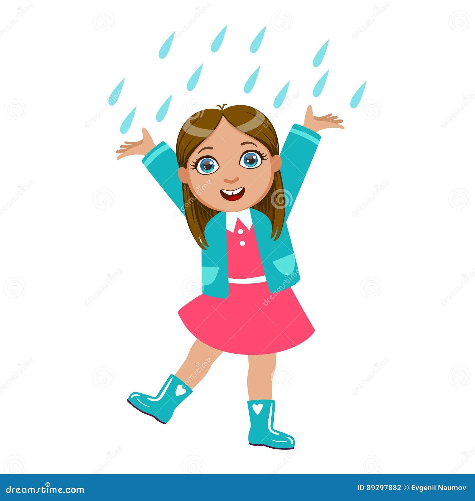 Flickadans under regndroppar, unge i Autumn Clothes In Fall Season Enjoyingn regn och regnigt väder, färgstänk och