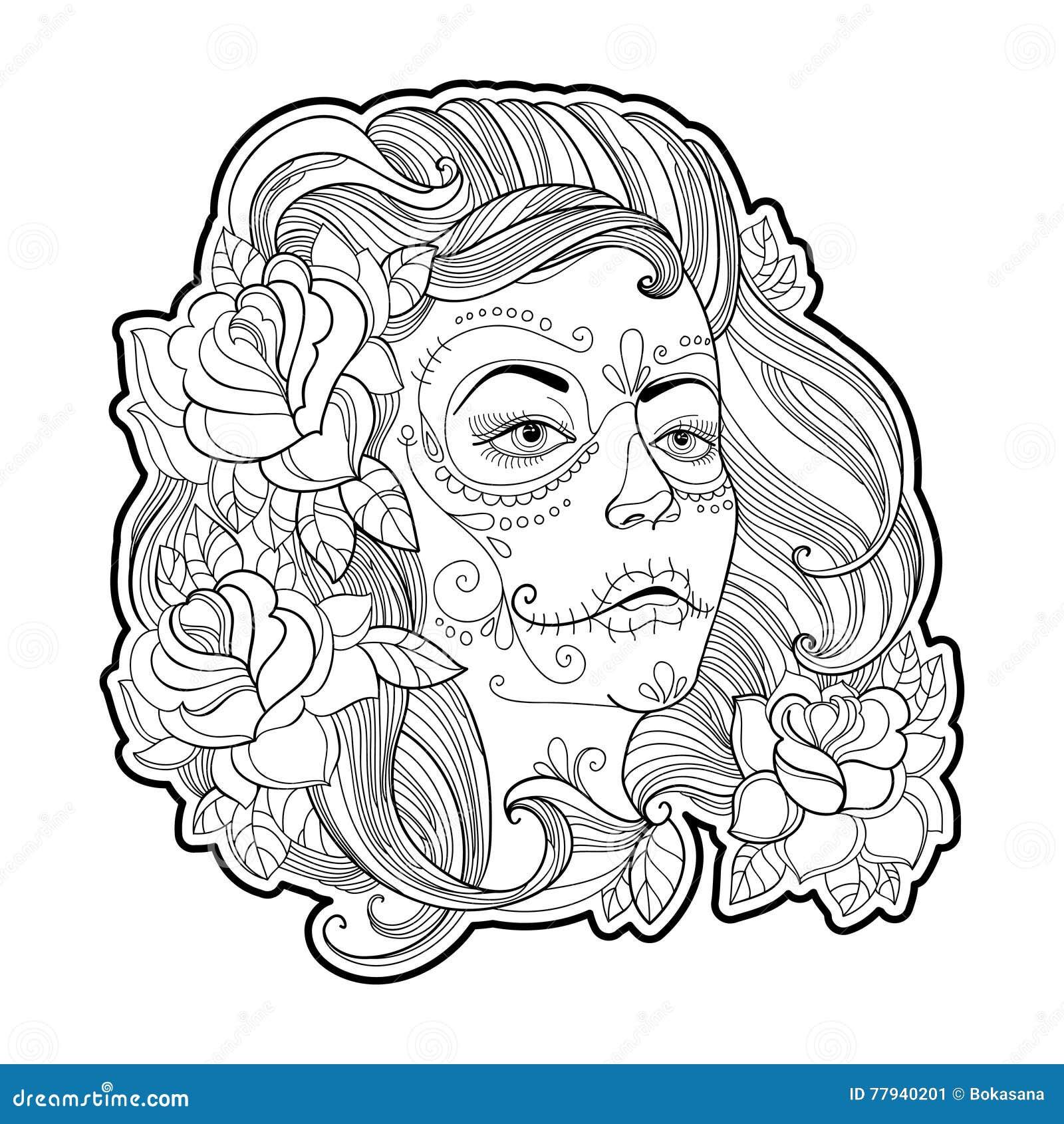 Flickaframsida med sockerskallen eller Calavera Catrina makeup och rosor som isoleras på vit Vektorillustration för den mexicansk