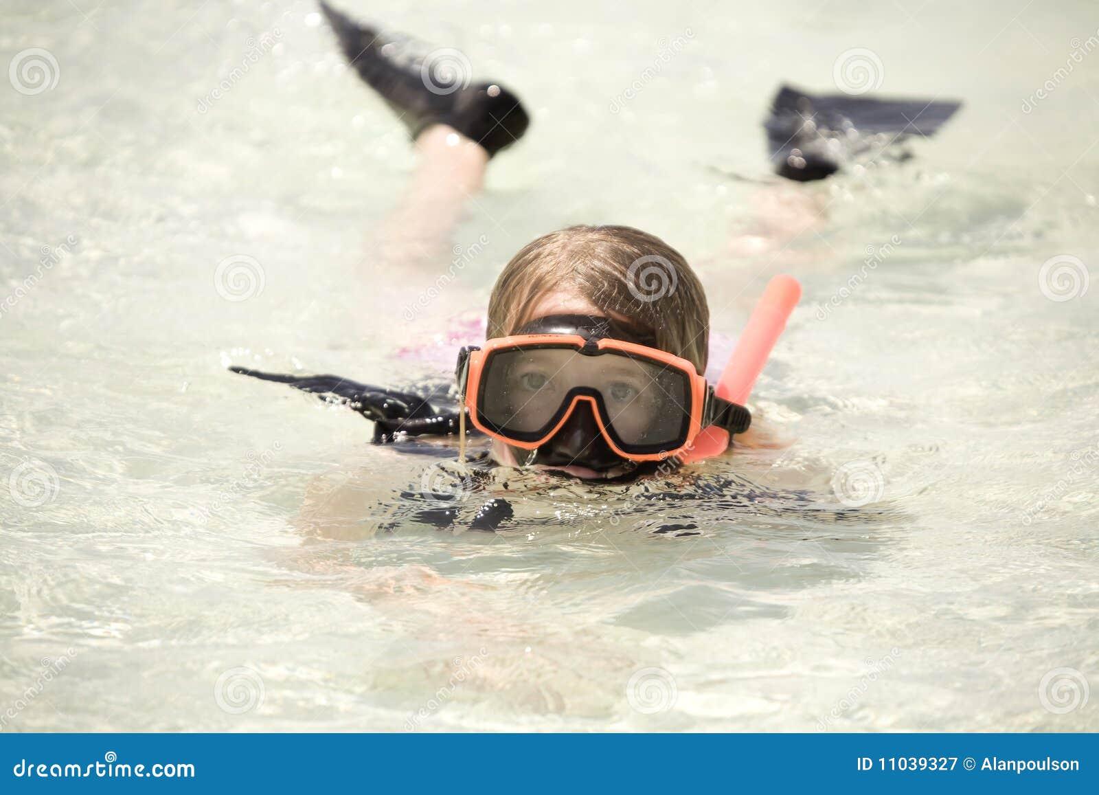 Flickahav som snorkeling