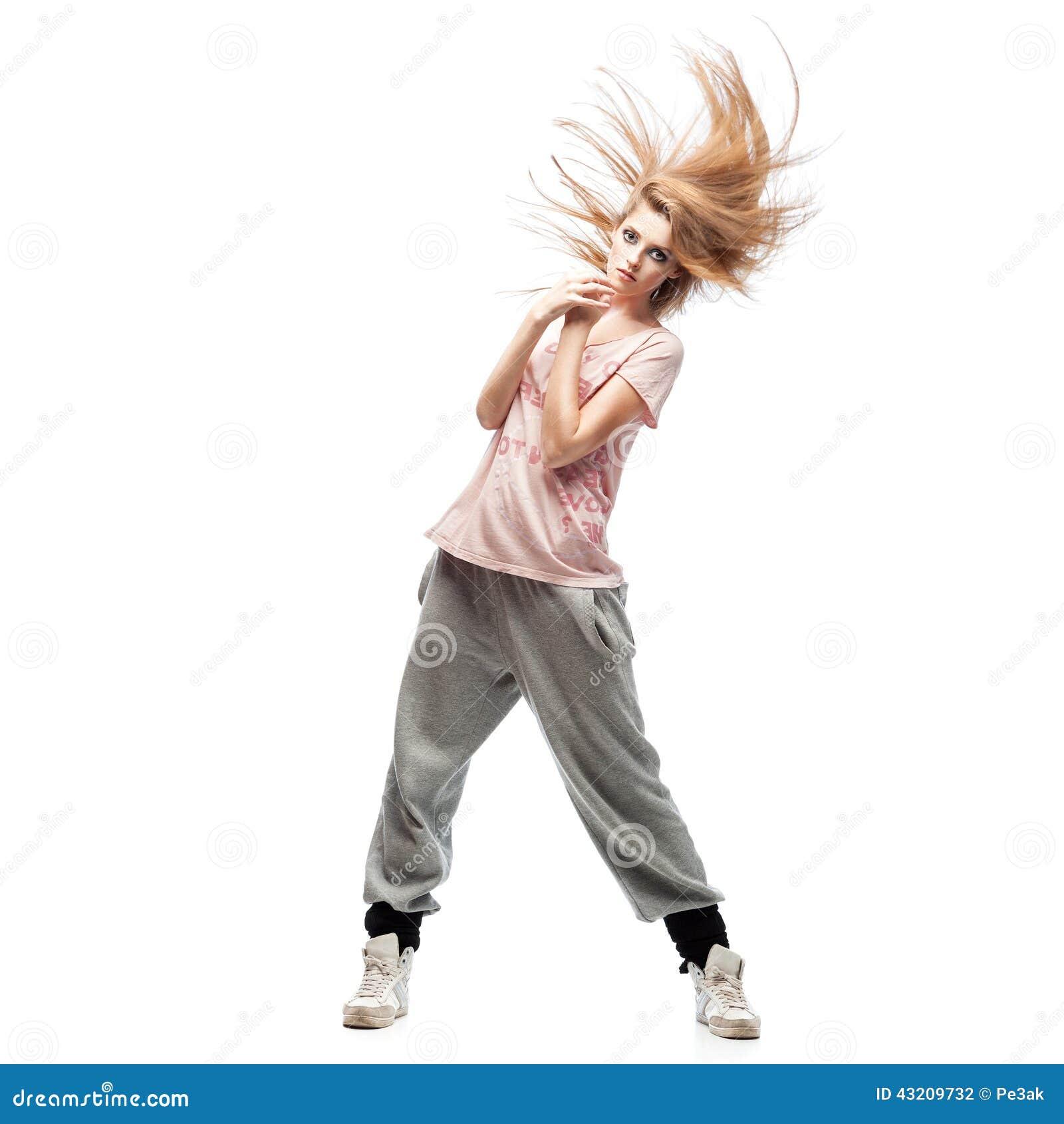 Download Flickahip-hop dansare arkivfoto. Bild av flicka, isolerat - 43209732