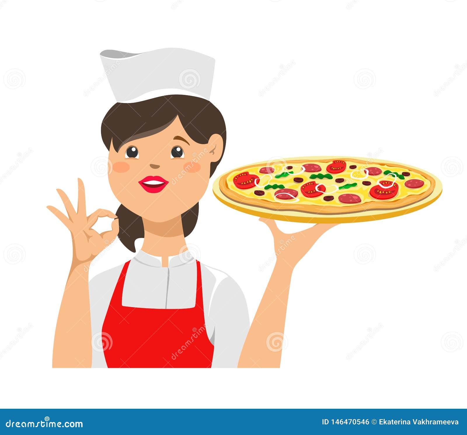 Flickakocken rymmer en pizza och med ett ok tecken på hennes hand white f?r vektor f?r bakgrundsillustrationhaj