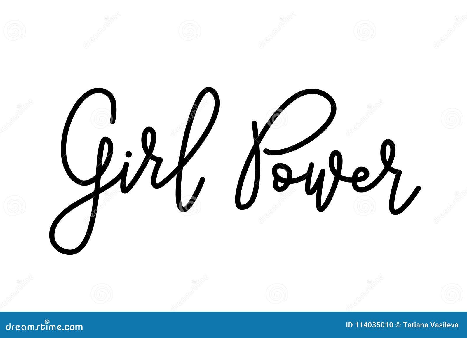 Flickamakttext Monoline kalligrafiskrift Gullig design för tryckkvinnaskjorta Feminismslogan också vektor för coreldrawillustrati