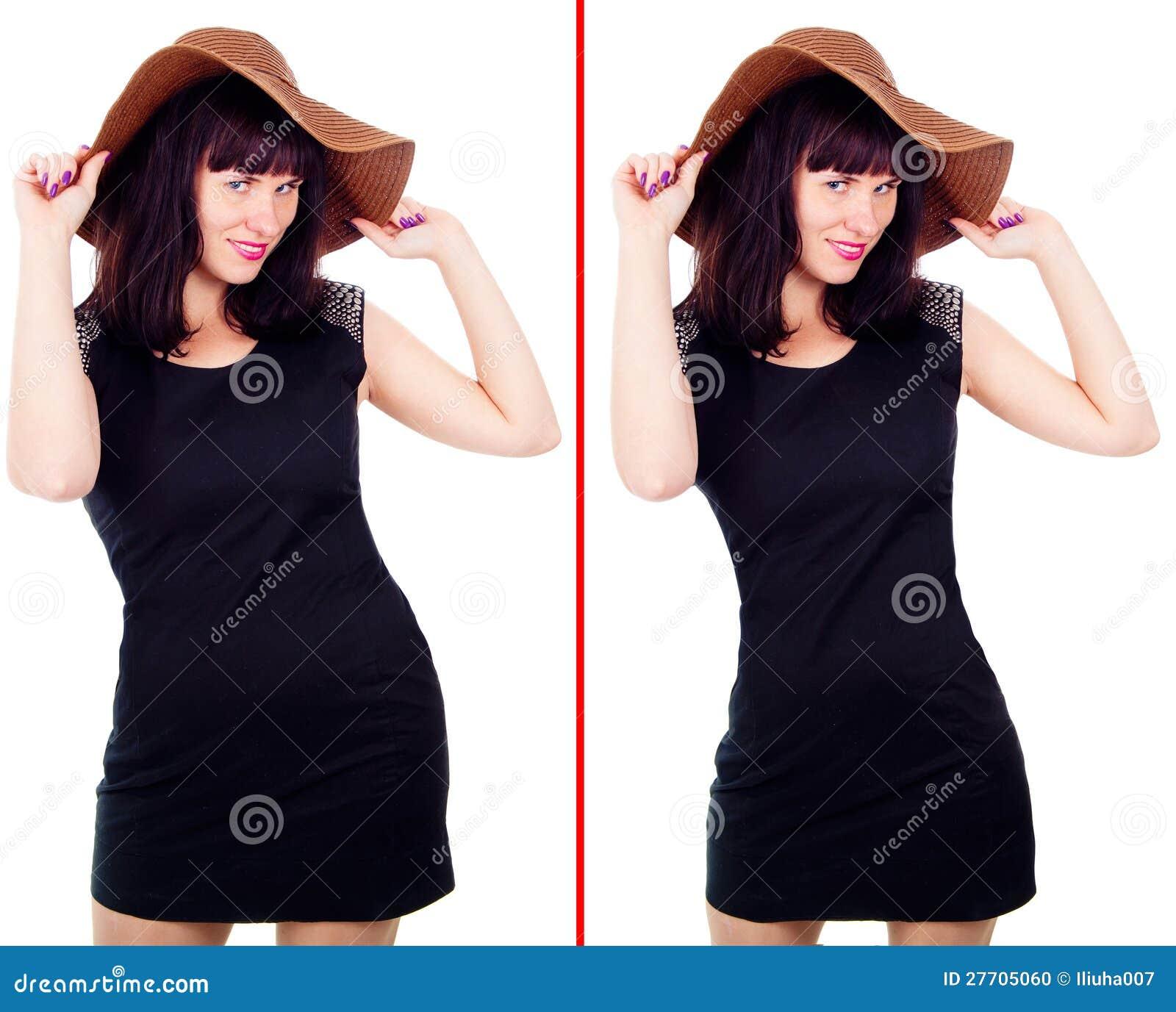 Flickan full och efter viktförlust