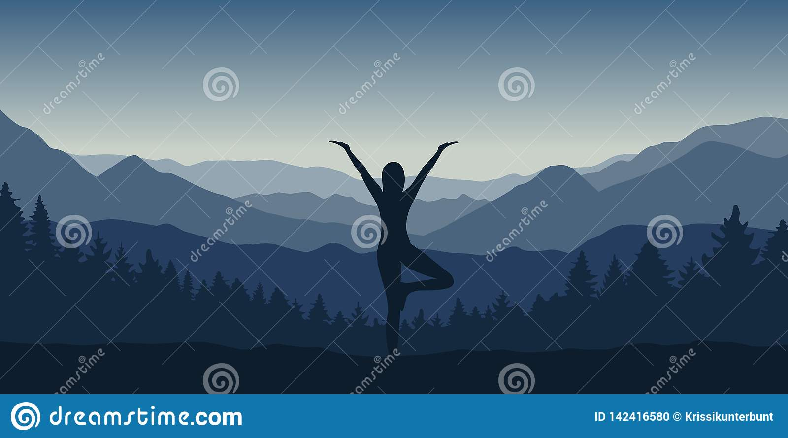 Flickan gör yoga att posera på det härliga blåa berg- och skoglandskapet