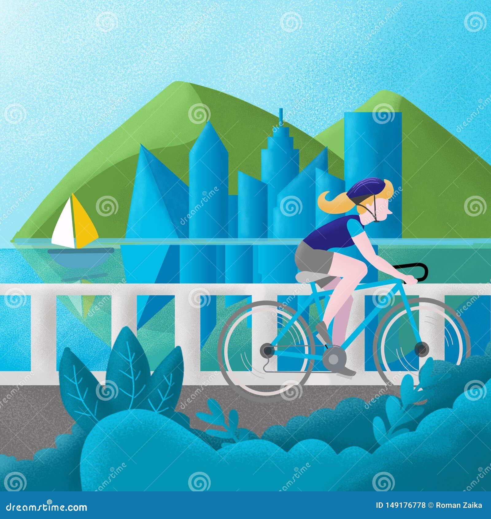 Flickan i en blå T-tröja reser längs floden på en cykel , illustration