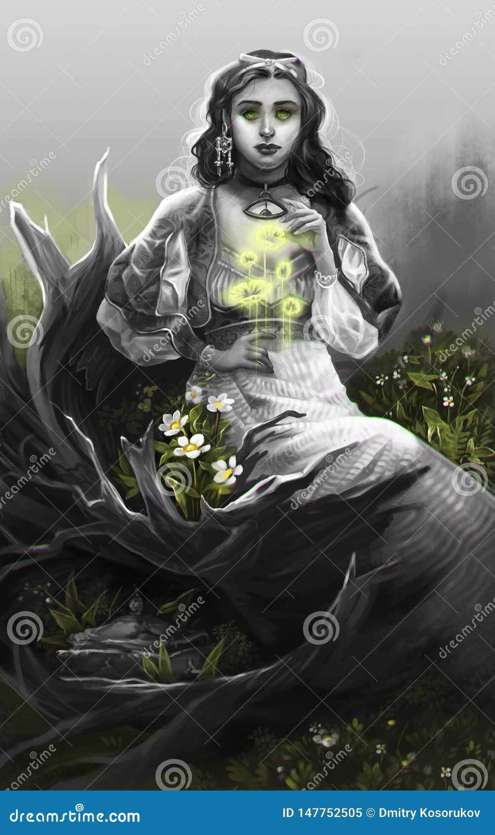 Flickan i grå färger sitter på stubben