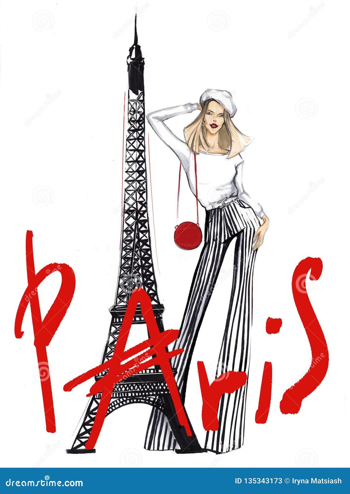 Flickan nära Eiffeltorn