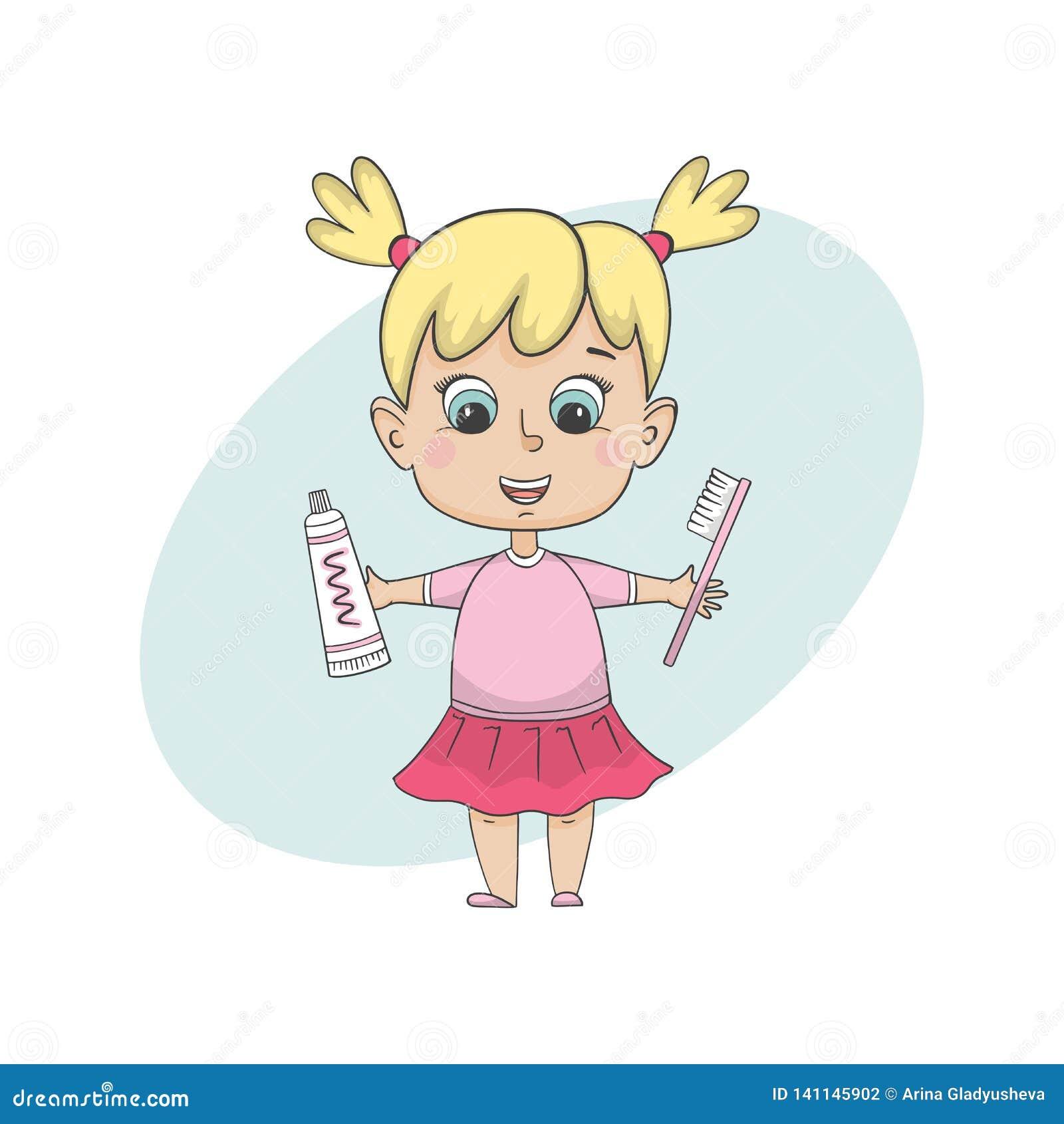 Flickan som borstar tänder Isolerat tecknad filmtecken