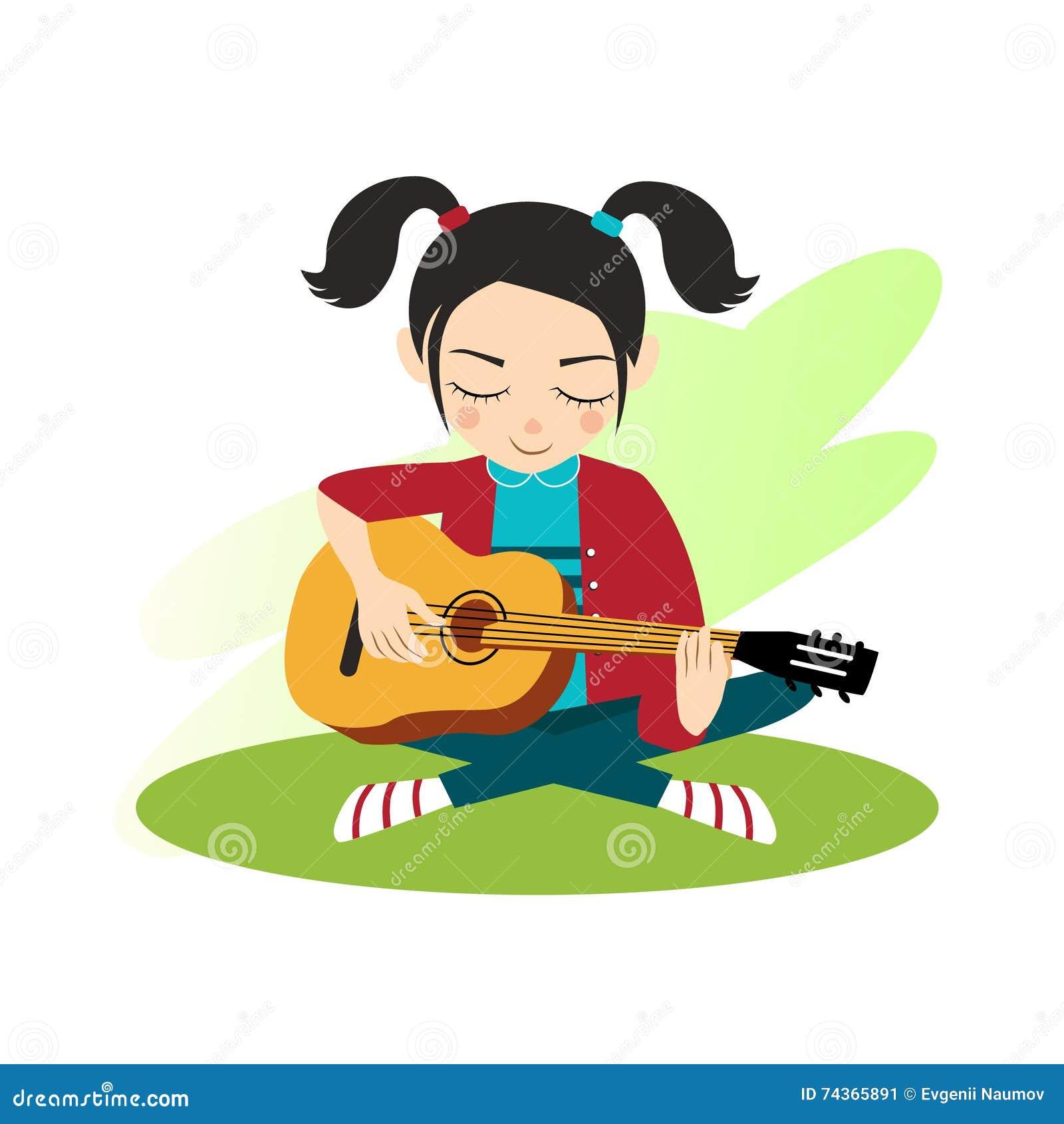 Flickan spelar gitarren