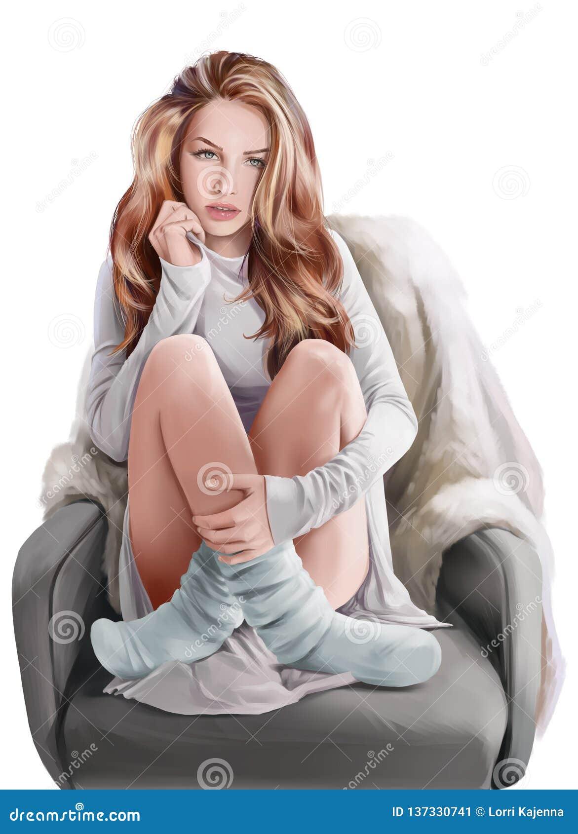 Flickasammanträde i en stol för Adobekorrigeringar hög för målning för photoshop för kvalitet för bildläsning vattenfärg mycket