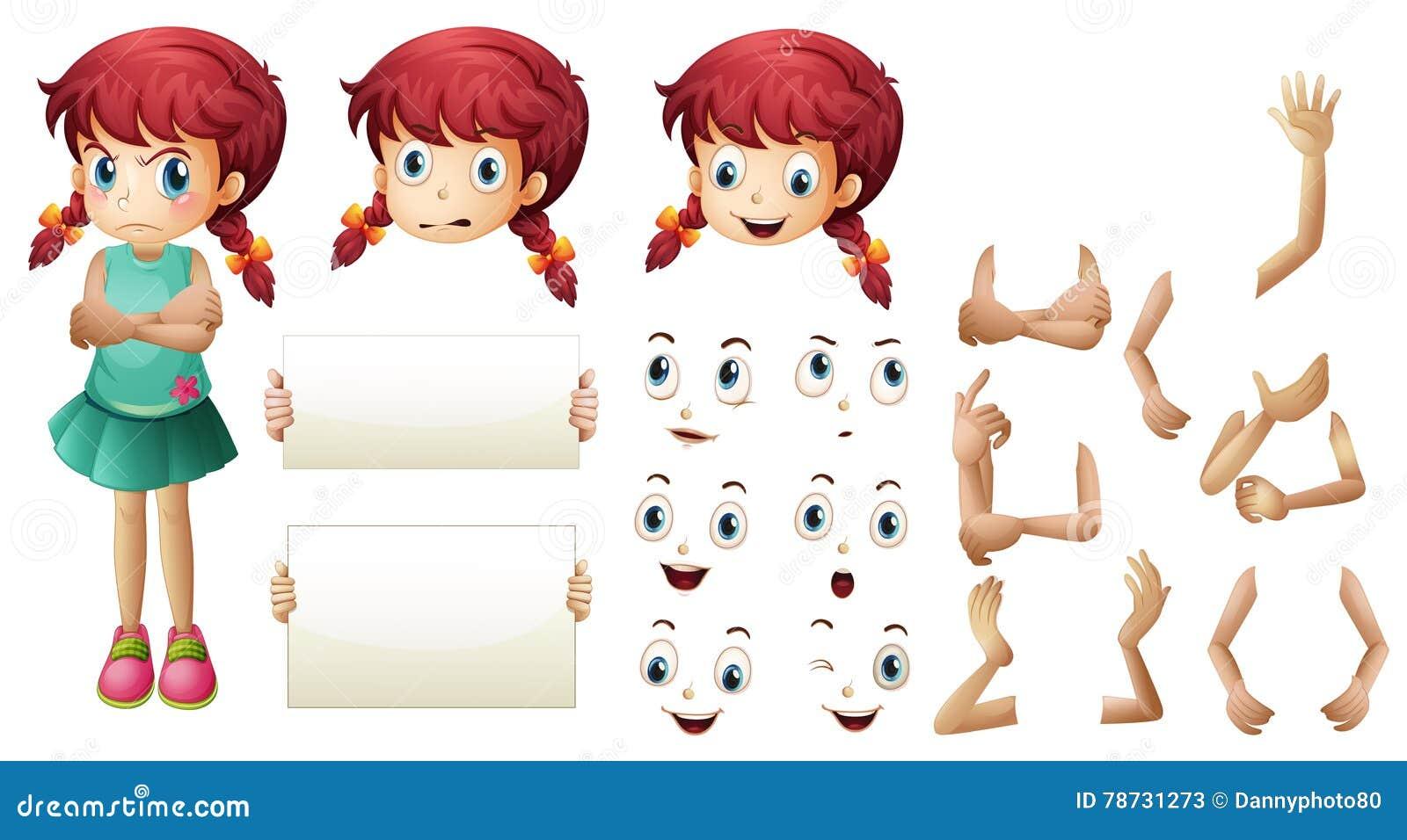 Flickauppsättning med olika handgester och ansiktsuttryck