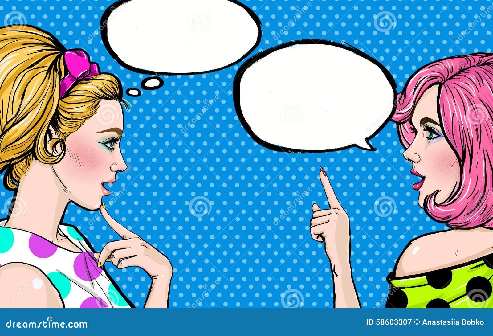 Flickor för popkonst med anförandebubblan Etikett för tetidtappning vektor för illustration för hälsning för födelsedagkort eps10