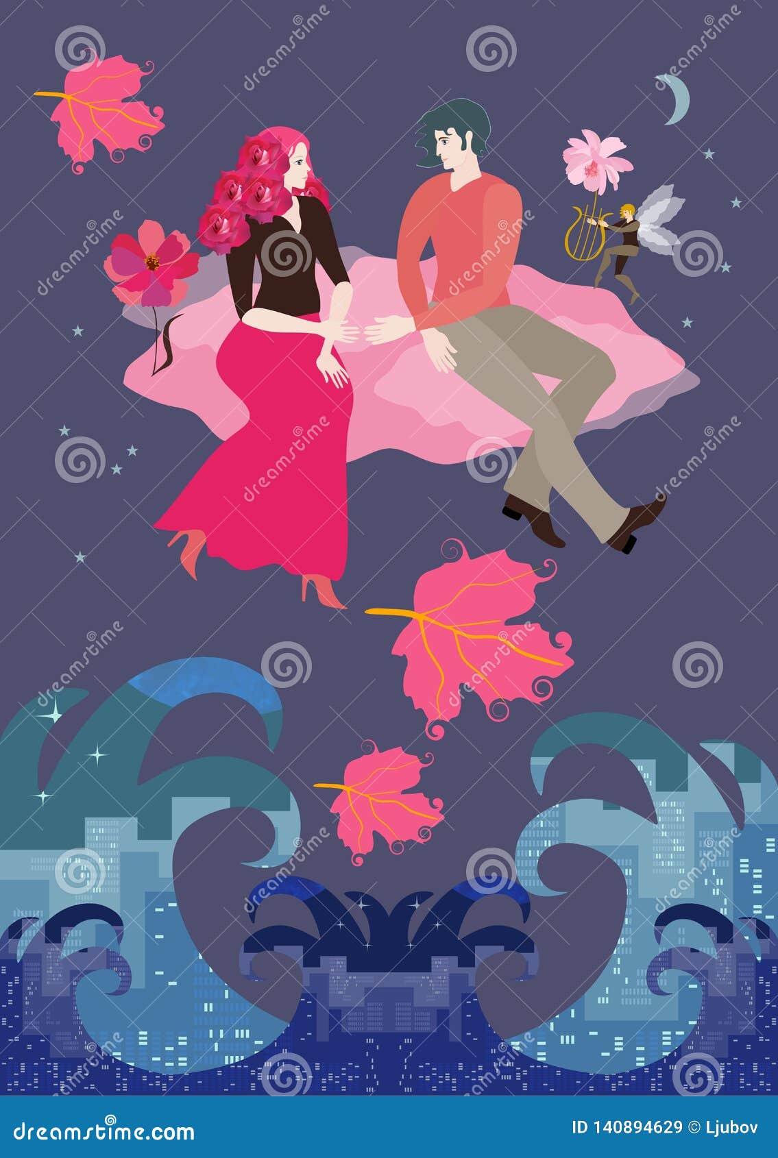 Flickvännen med frisyr i form av bukett av rosor och den karmosinröda kjolen och pojkvännen flyger på det rosa molnet i natthimme